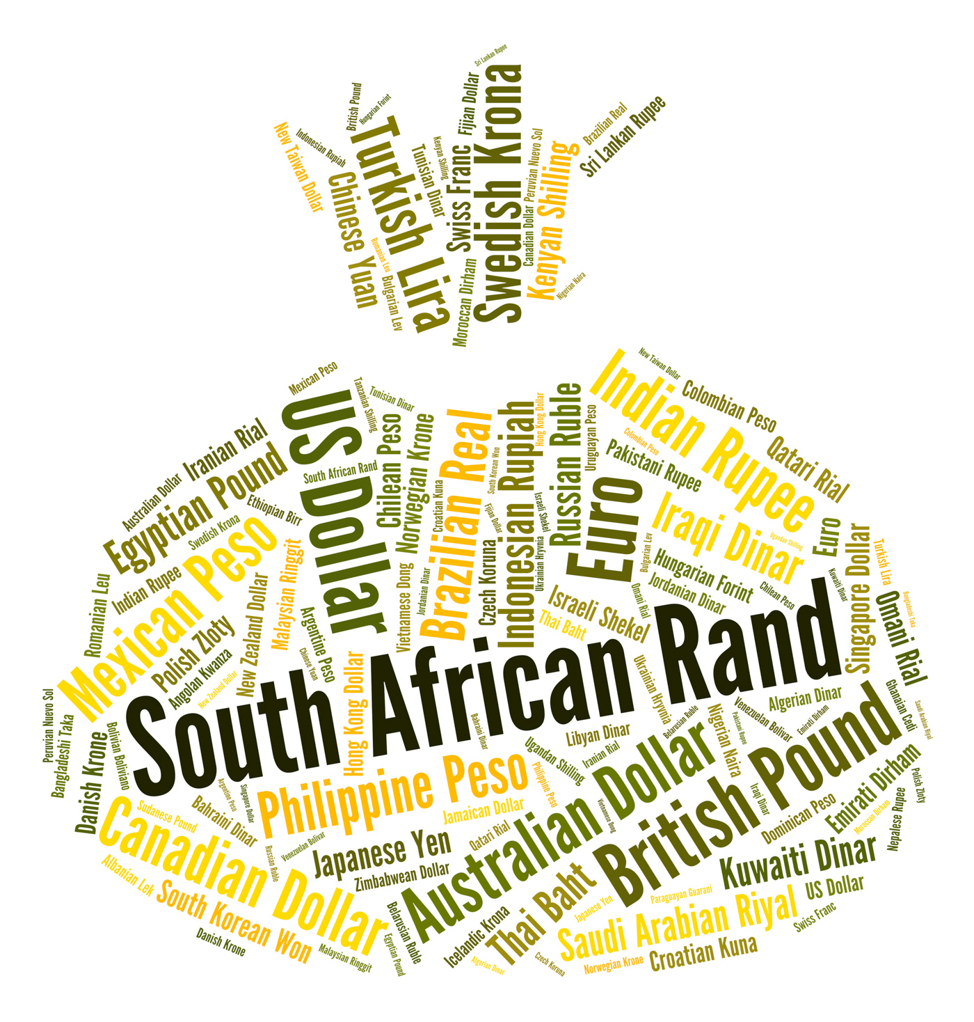 South african rand indicates exchange rate and coinage photo