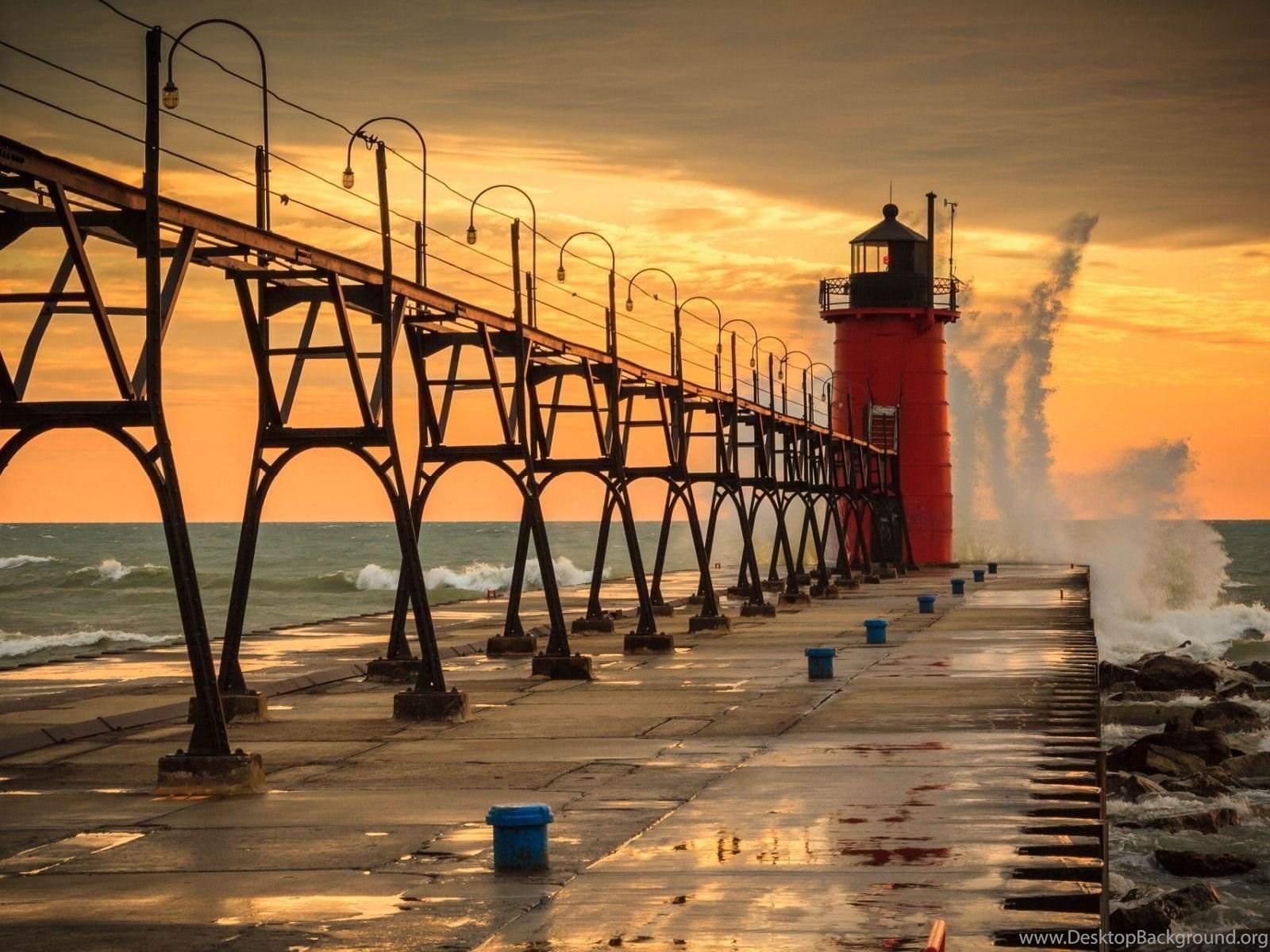 Lighthouse South Haven Wallpapers Desktop Background