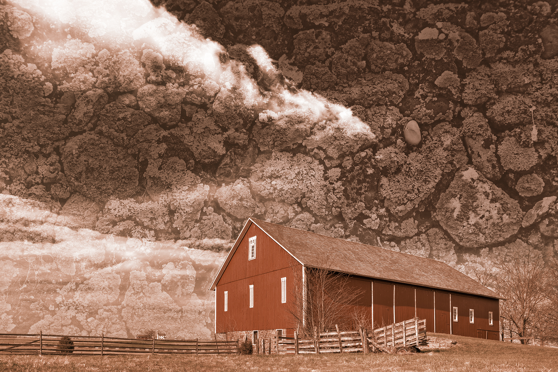 Spangler weathered sky farm - sepia nostalgia photo