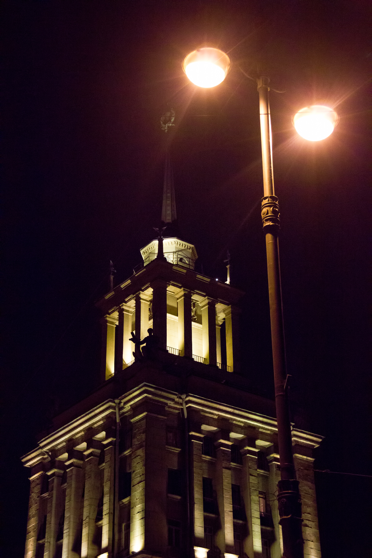 spb scene, Building, Column, Lamp, Night, HQ Photo