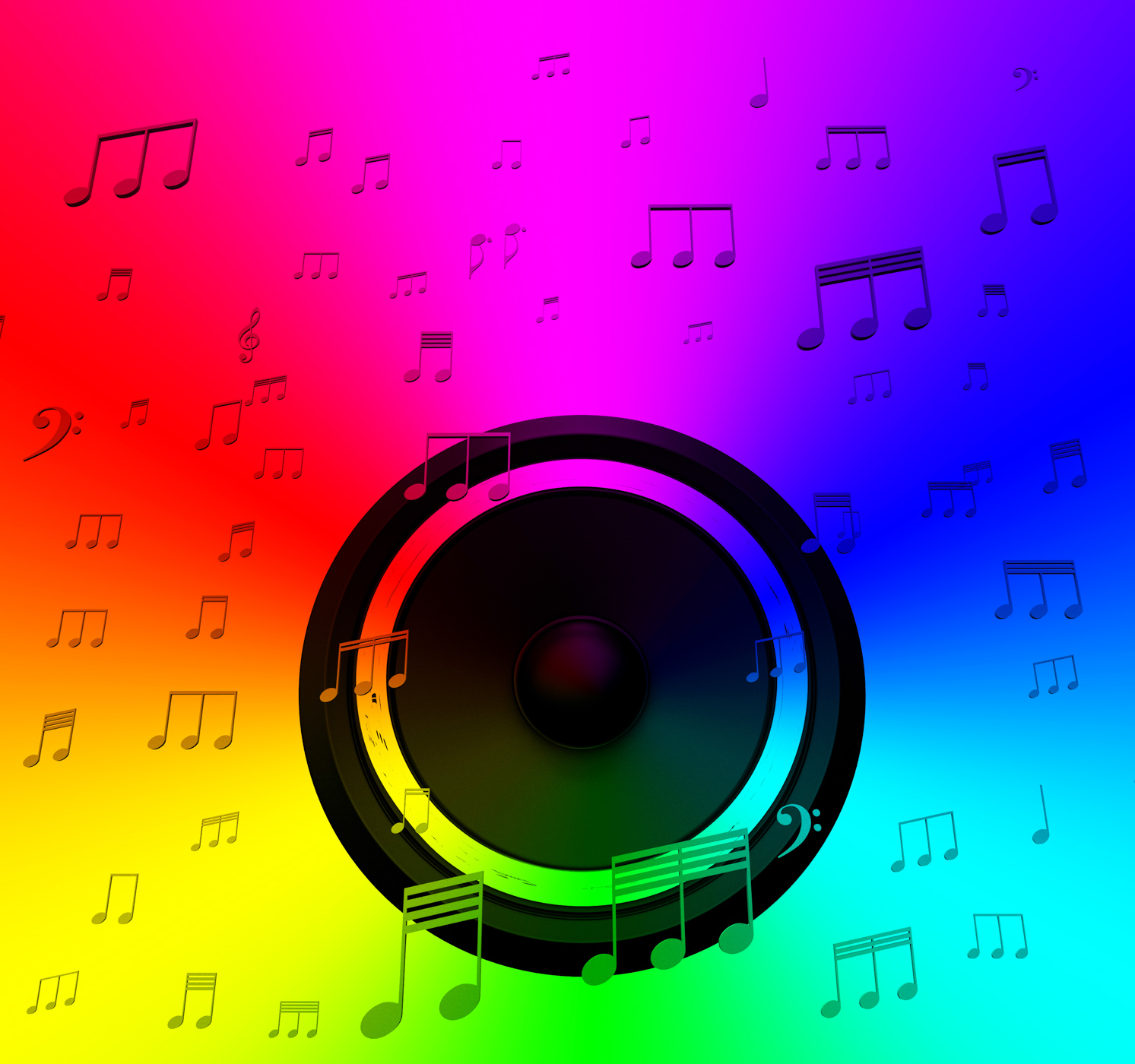 Speaker and musical notes shows music disco or concert photo