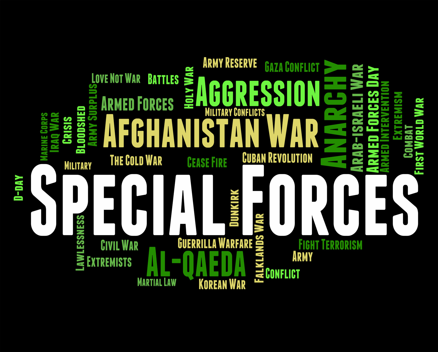 Special forces means military action and covert photo