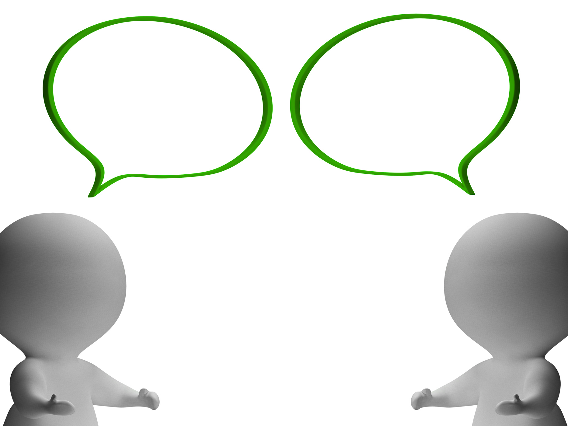 Speech bubbles and 3d characters showing discussion and gossip photo