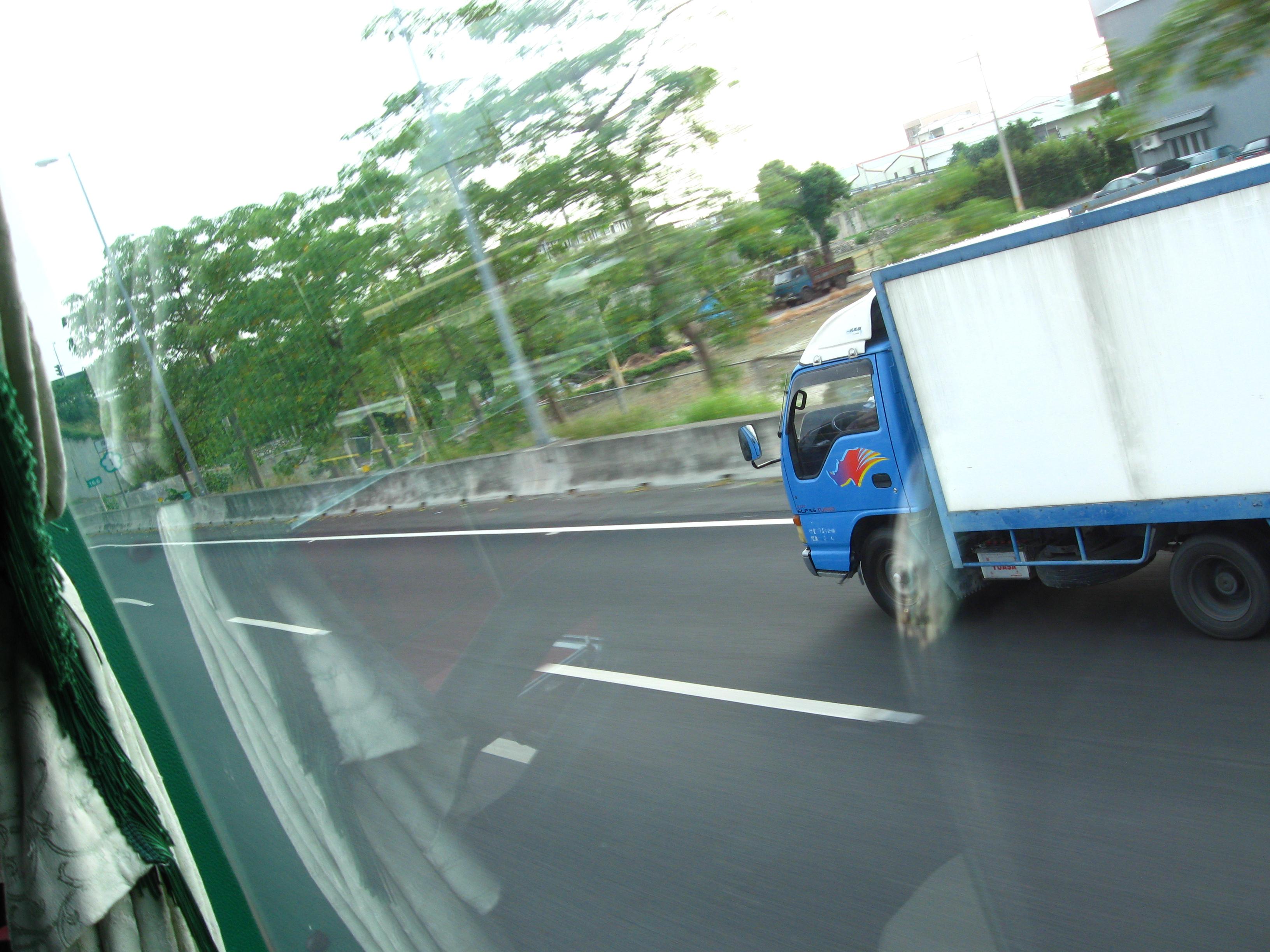 Speeding Truck, Blue, Blur, Fast, Highway, HQ Photo