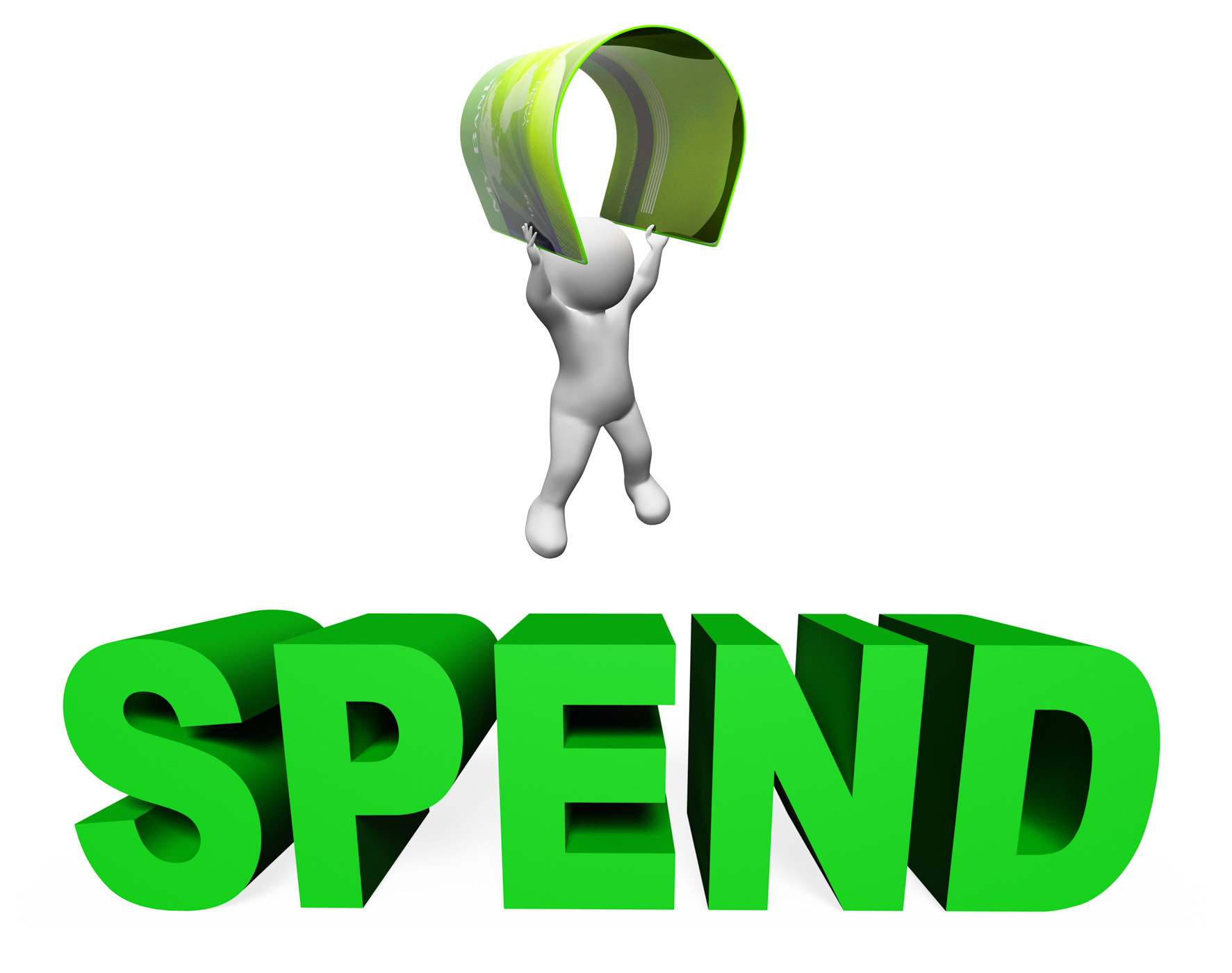 Spend credit card shows illustration spending and buying 3d rendering photo