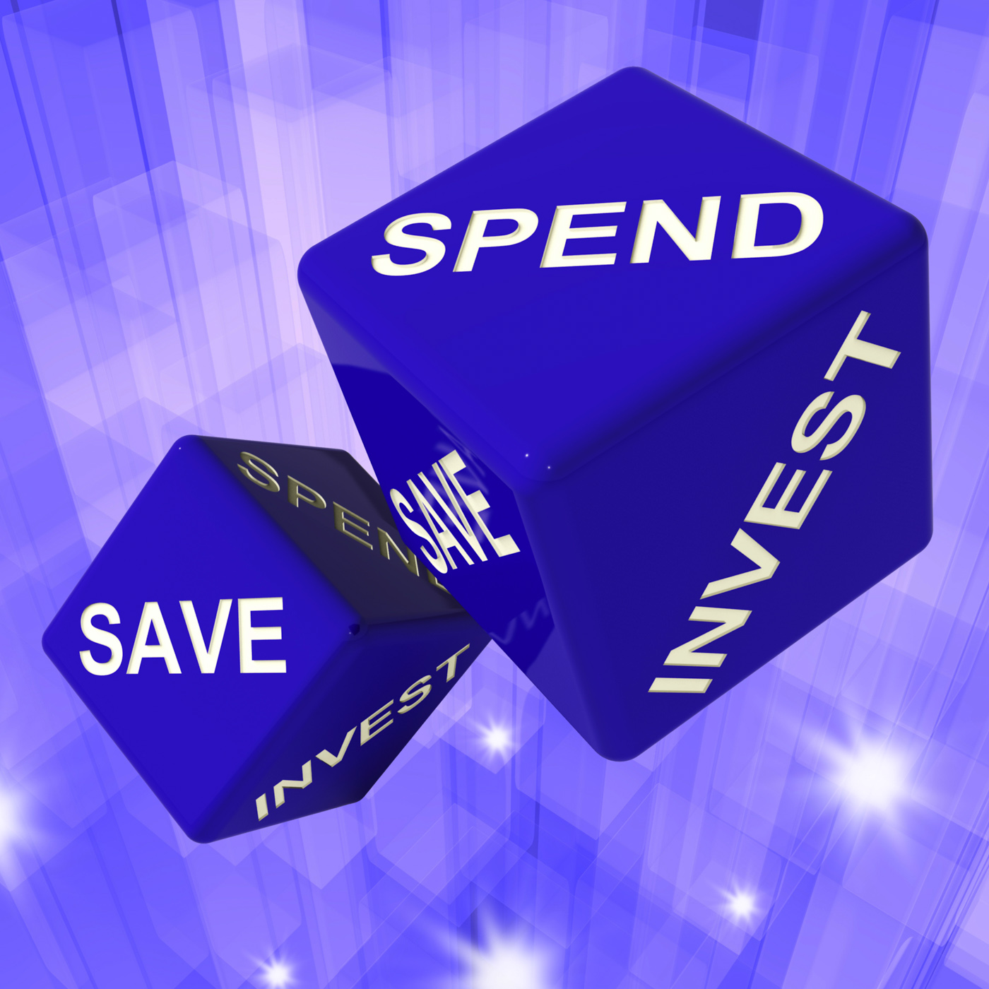 Spend, save, invest dice background shows finances and debts photo