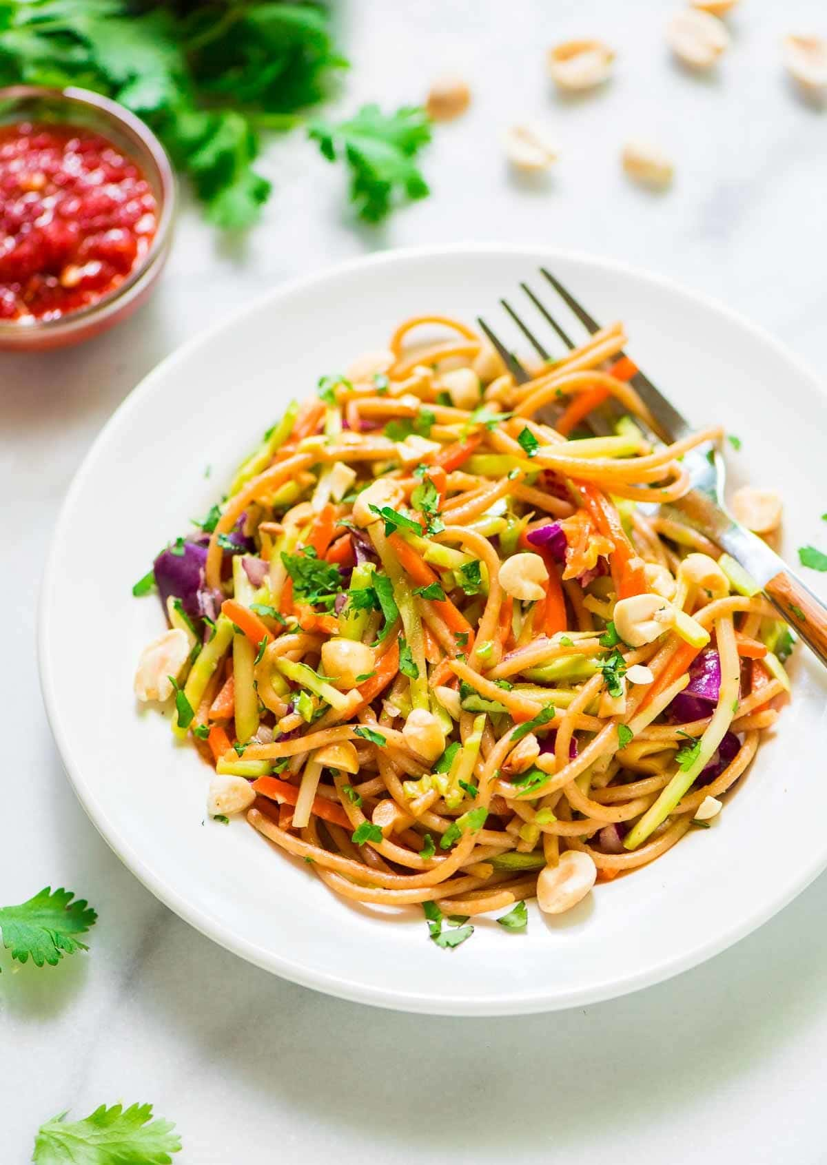 Asian Noodle Salad with Creamy Peanut Dressing | Well Plated by Erin