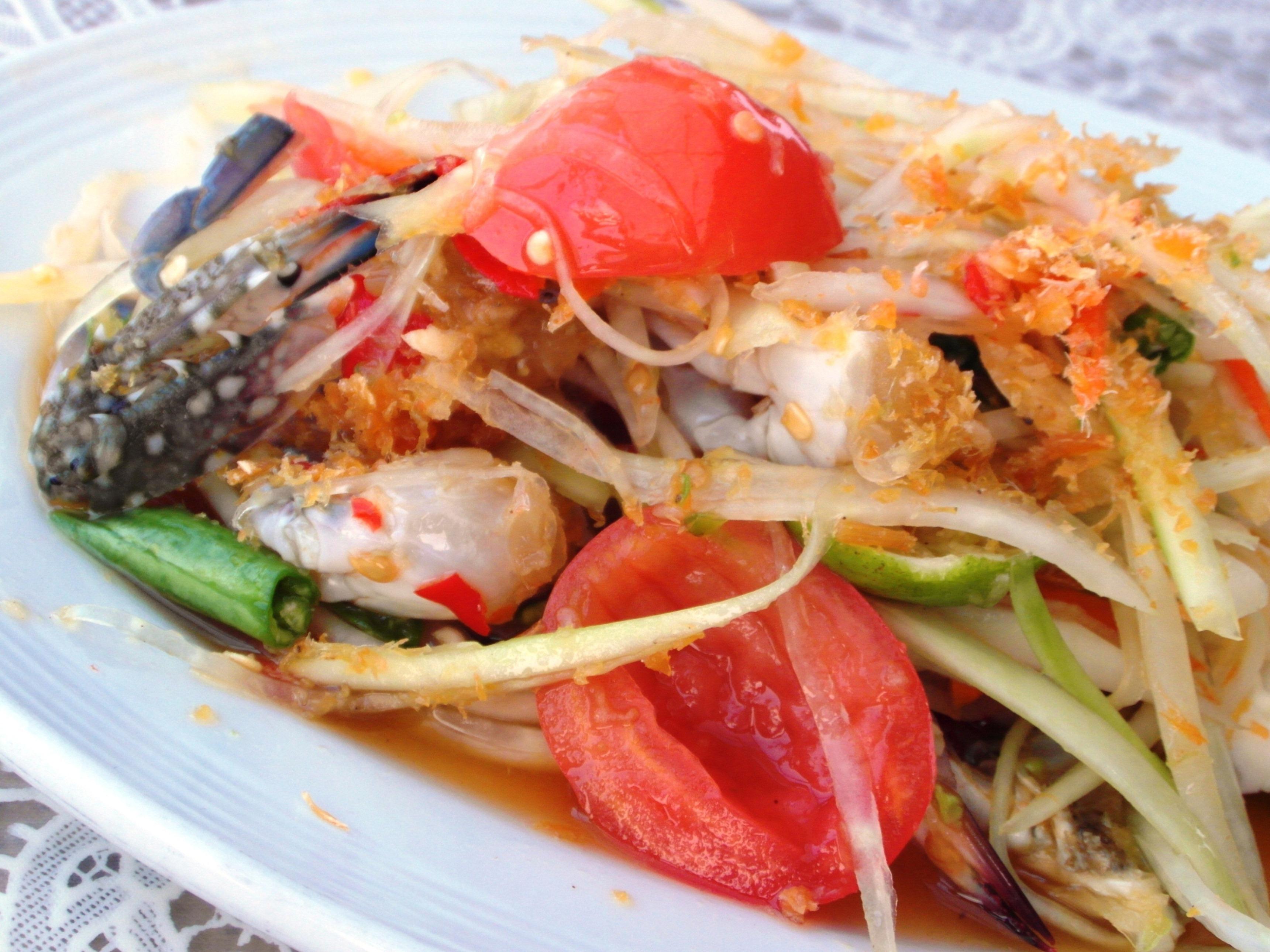 Spicy Crab Salad, Asia, Oriental, Vegetables, Tomato, HQ Photo