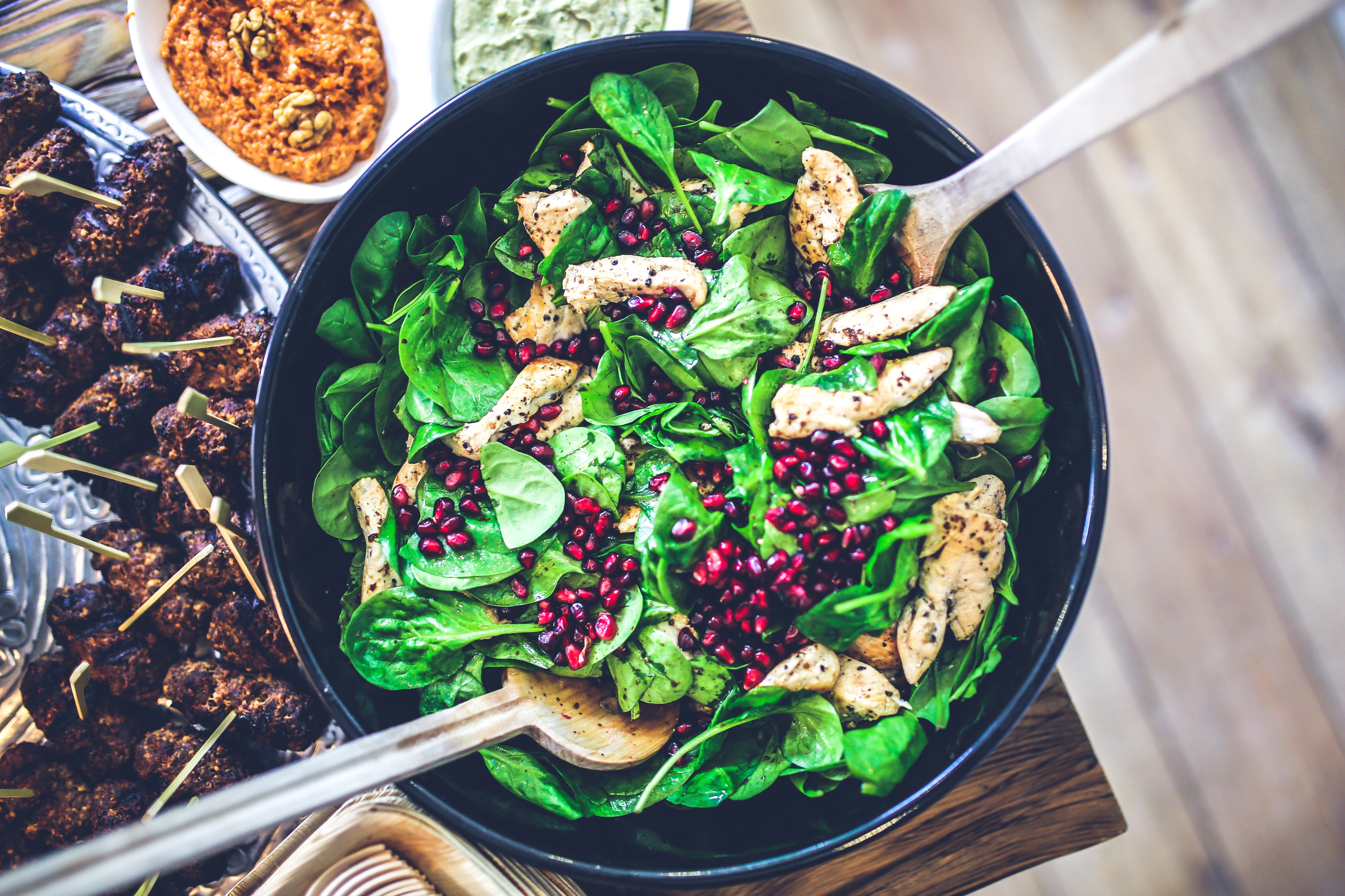 Spinach, chicken & pomegranate salad, Buffet, Chicken, Cooking, Delicious, HQ Photo