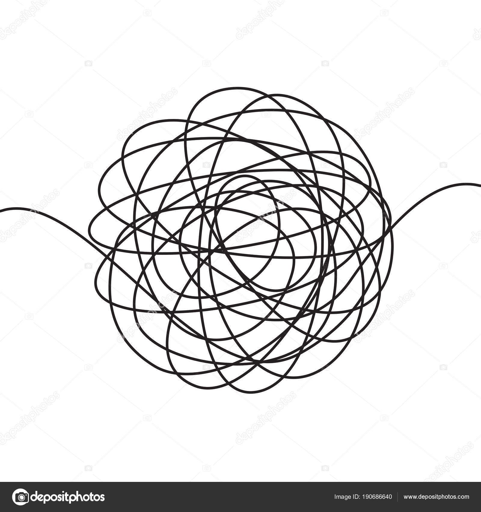 Hand drawn scrawl sketch or black line spherical abstract scribble ...