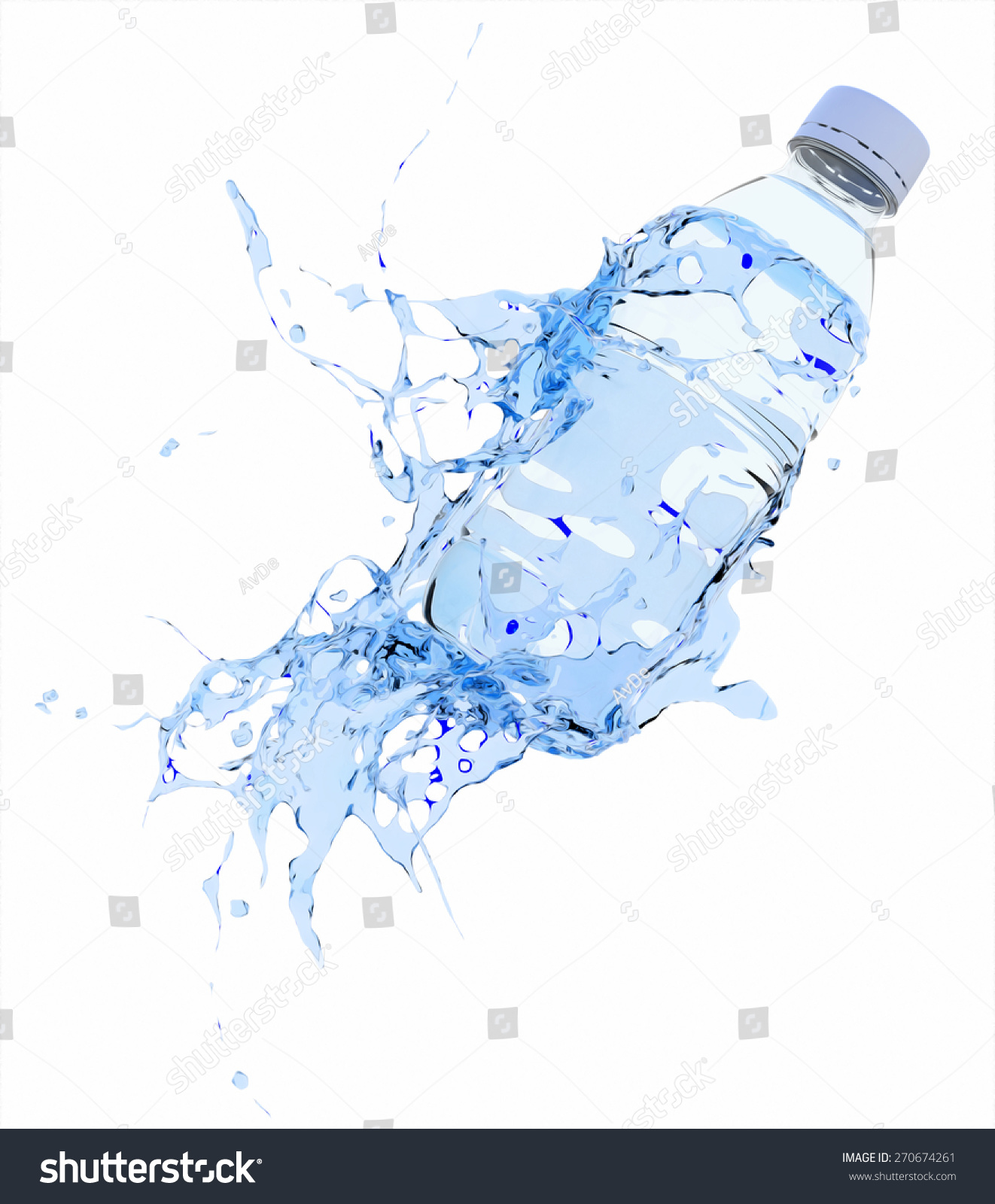 Water Splashing On Water Bottle Stock Illustration 270674261 ...