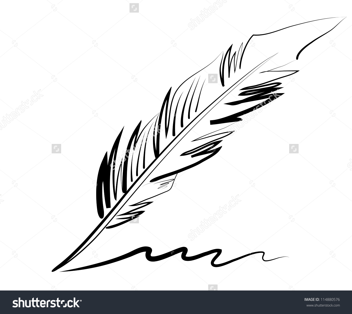 Vector drawing of a goose quill with a curlicue. Hand draw. - stock ...