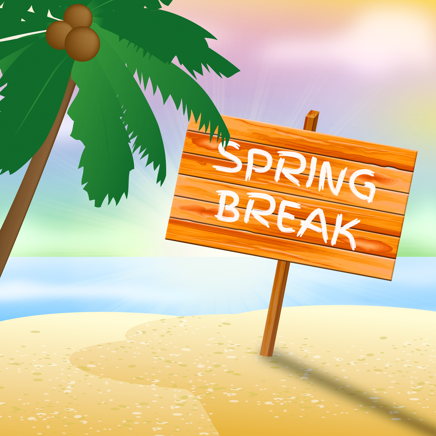 Spring break sign means go on leave and beach photo