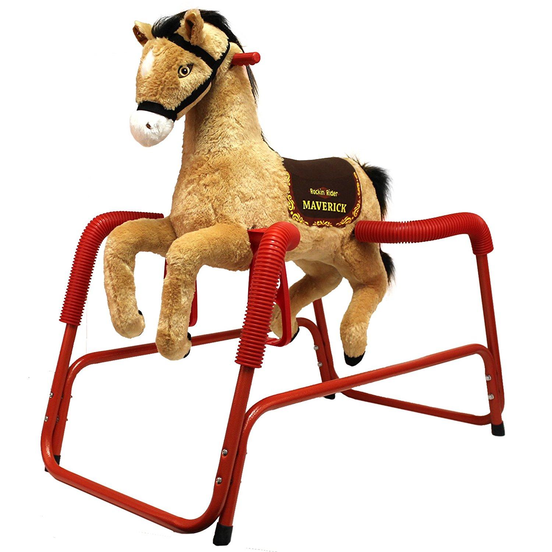 Amazon.com: Rockin' Rider Maverick Plush Spring Horse: Toys & Games