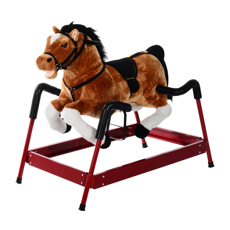 Qaba Plush Spring Rocking Horse w/ Realistic Sounds   aosom.com