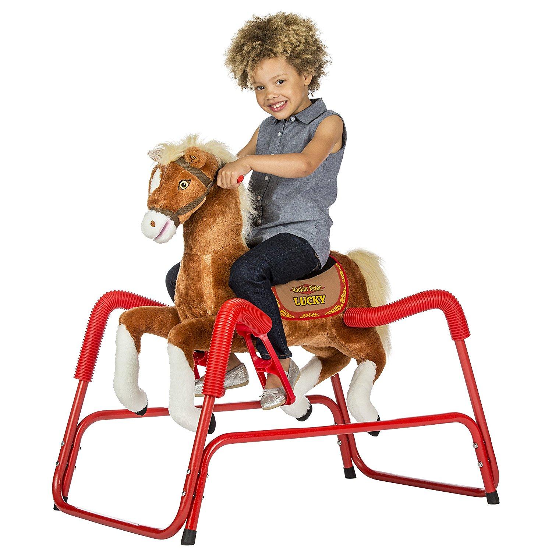 Amazon.com: Rockin' Rider Lucky Talking Plush Spring Horse: Toys & Games
