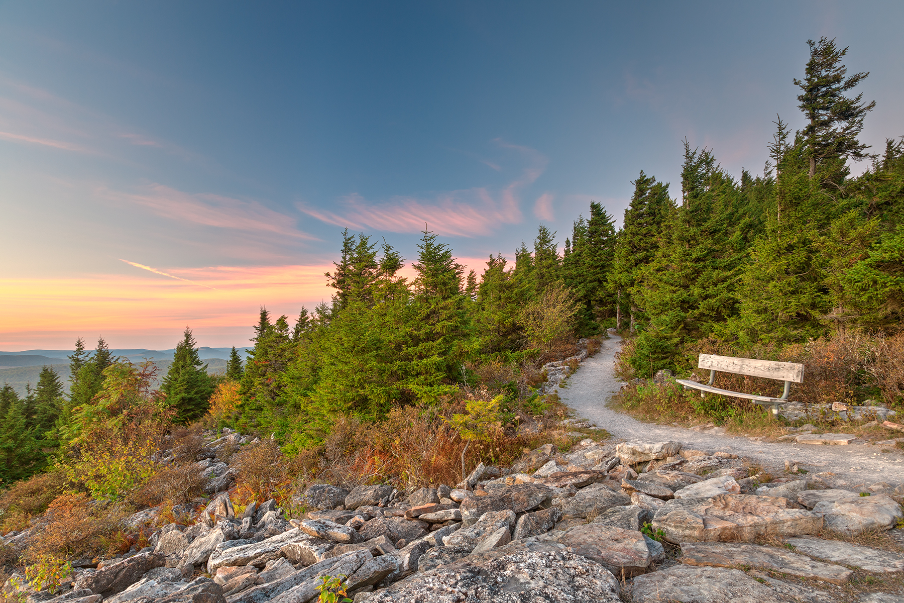 Spruce Knob Twilight Trail - HDR, Raw, Seat, Scenic, Scenery, HQ Photo