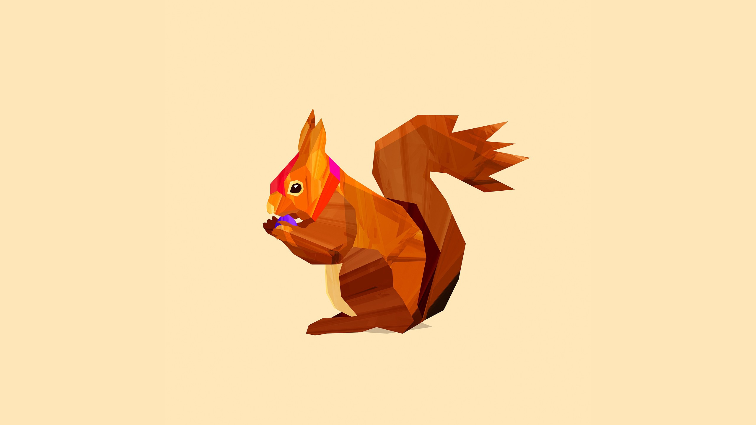 Download wallpaper 2560x1440 squirrel, drawing, wood hd background