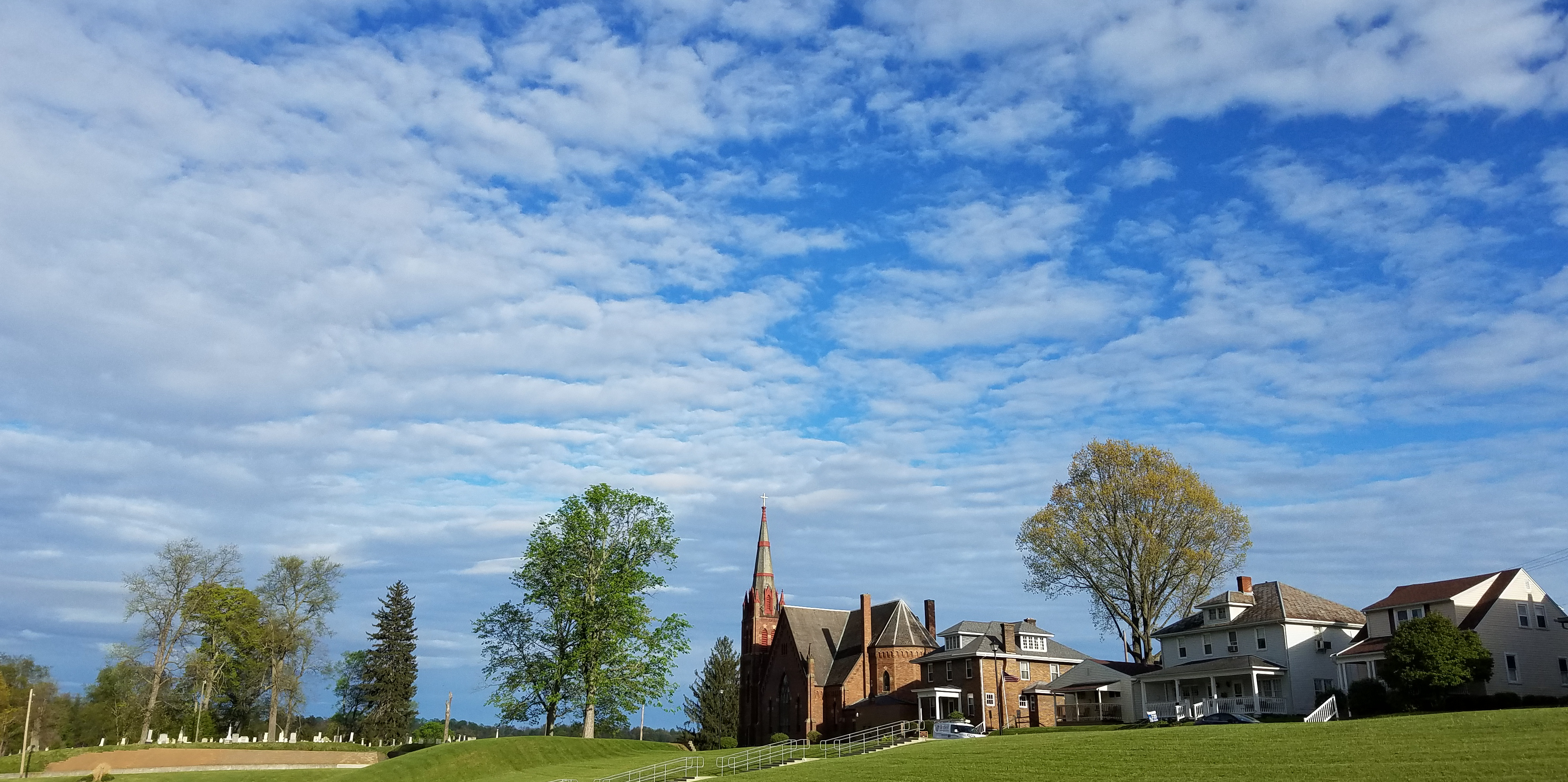 St. John Catholic Church, Appalachia, Clouds, Cross, Hills, HQ Photo