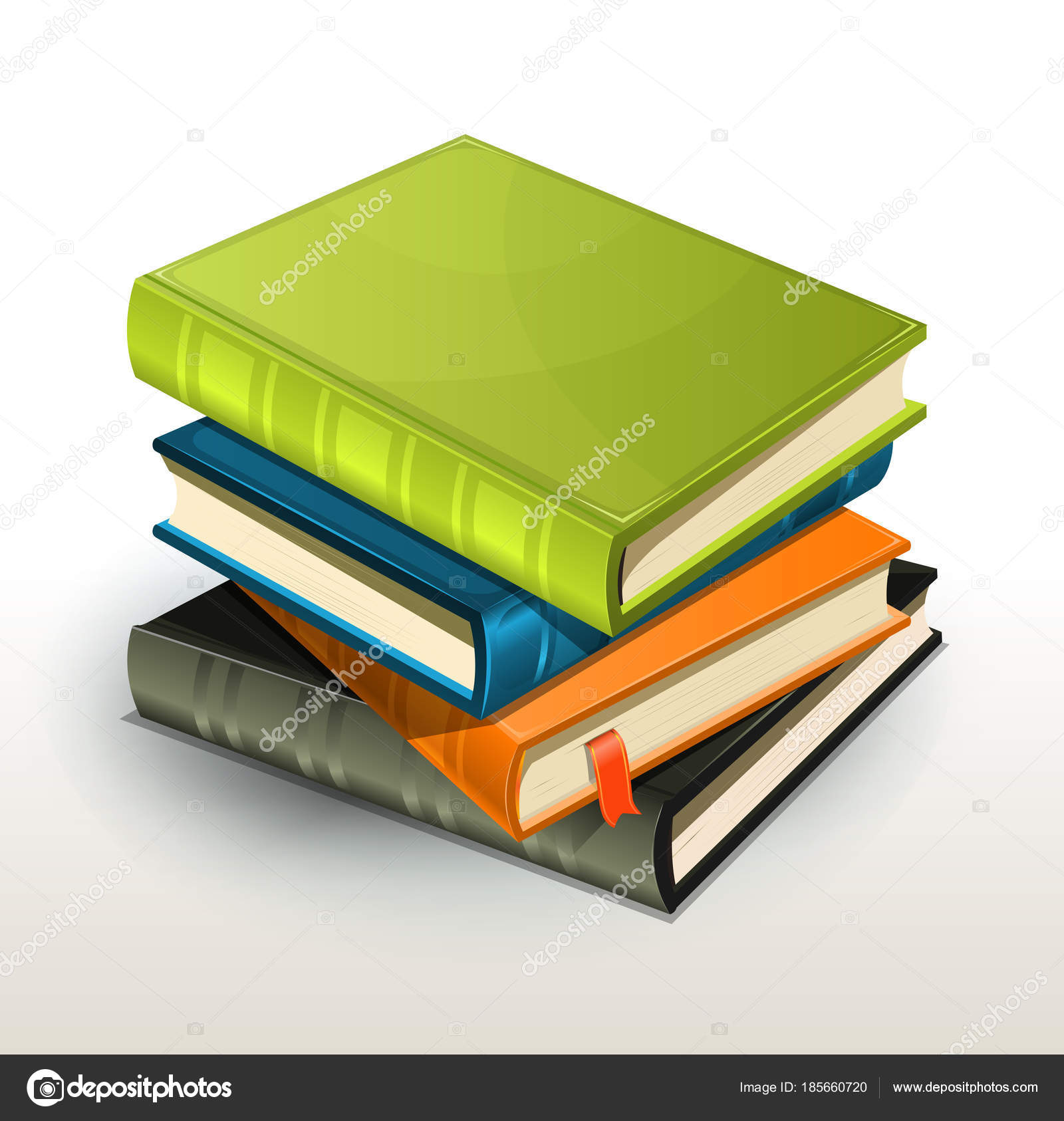 Colourful Stack Books Green Blue Orange Grey Colours — Stock Photo ...