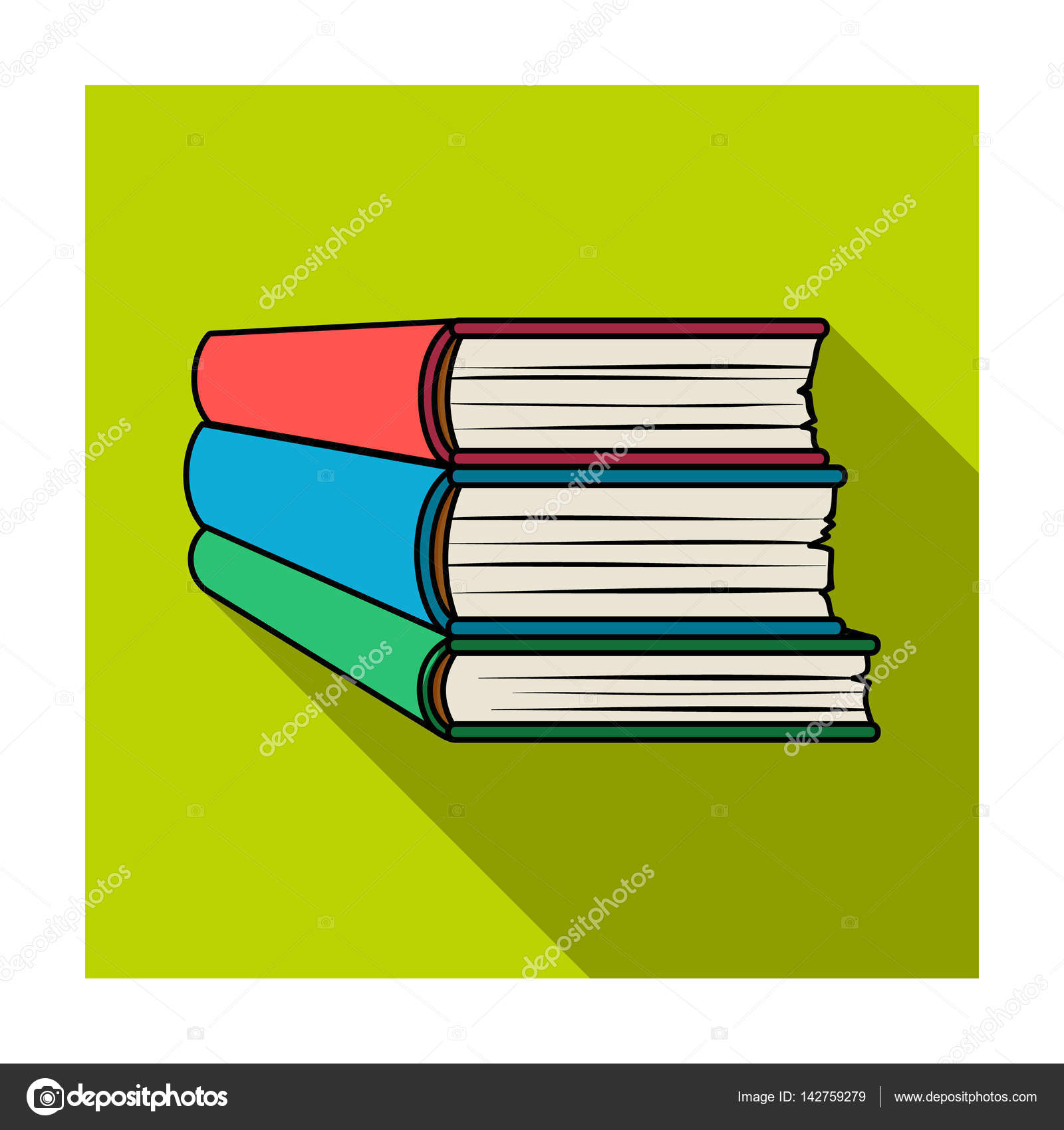 Stack of books icon in flat style isolated on white background ...