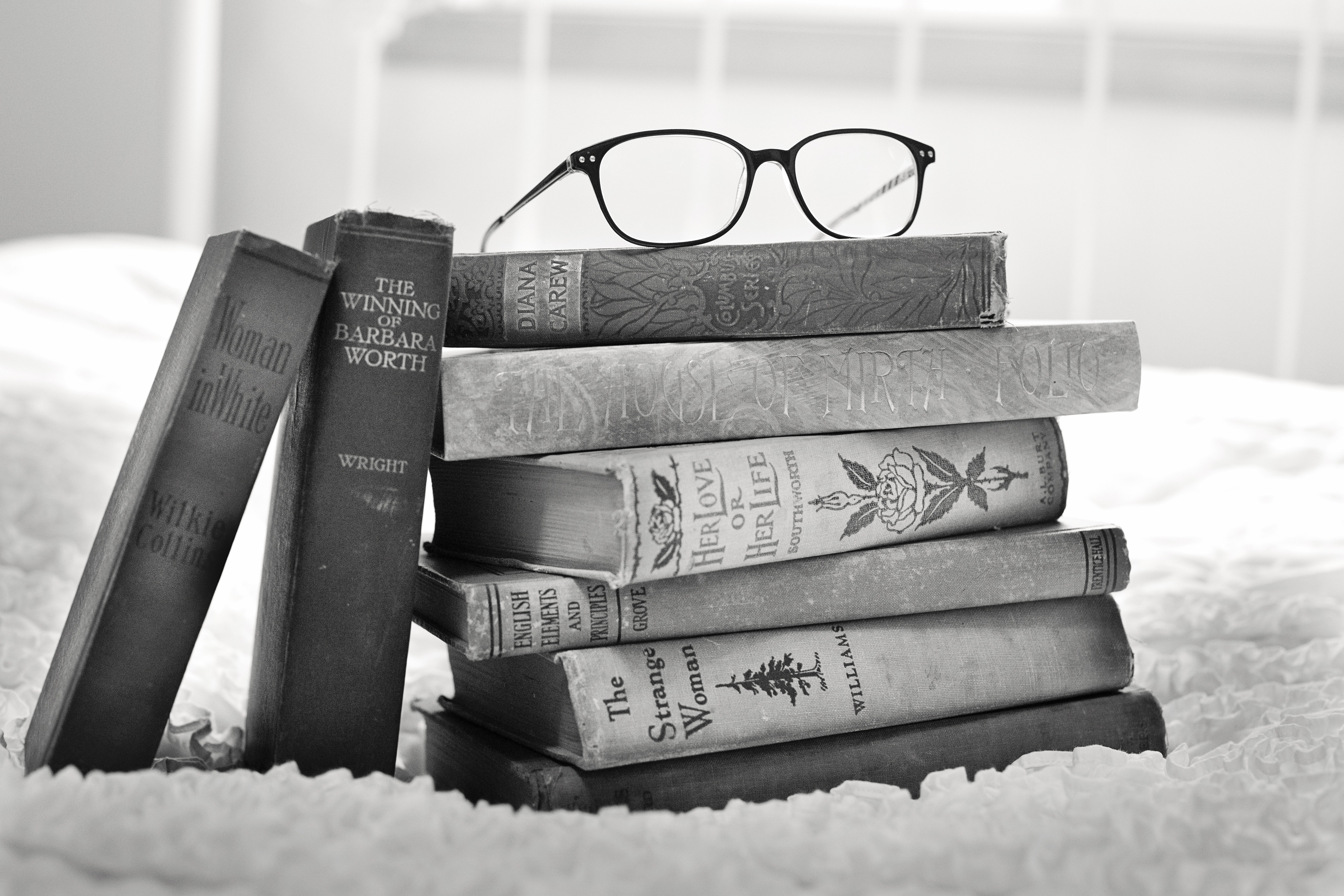 Free stock photo of antique, black-and-white, books