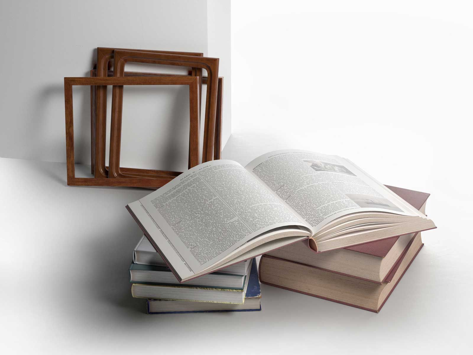 Stack of Books with Frames