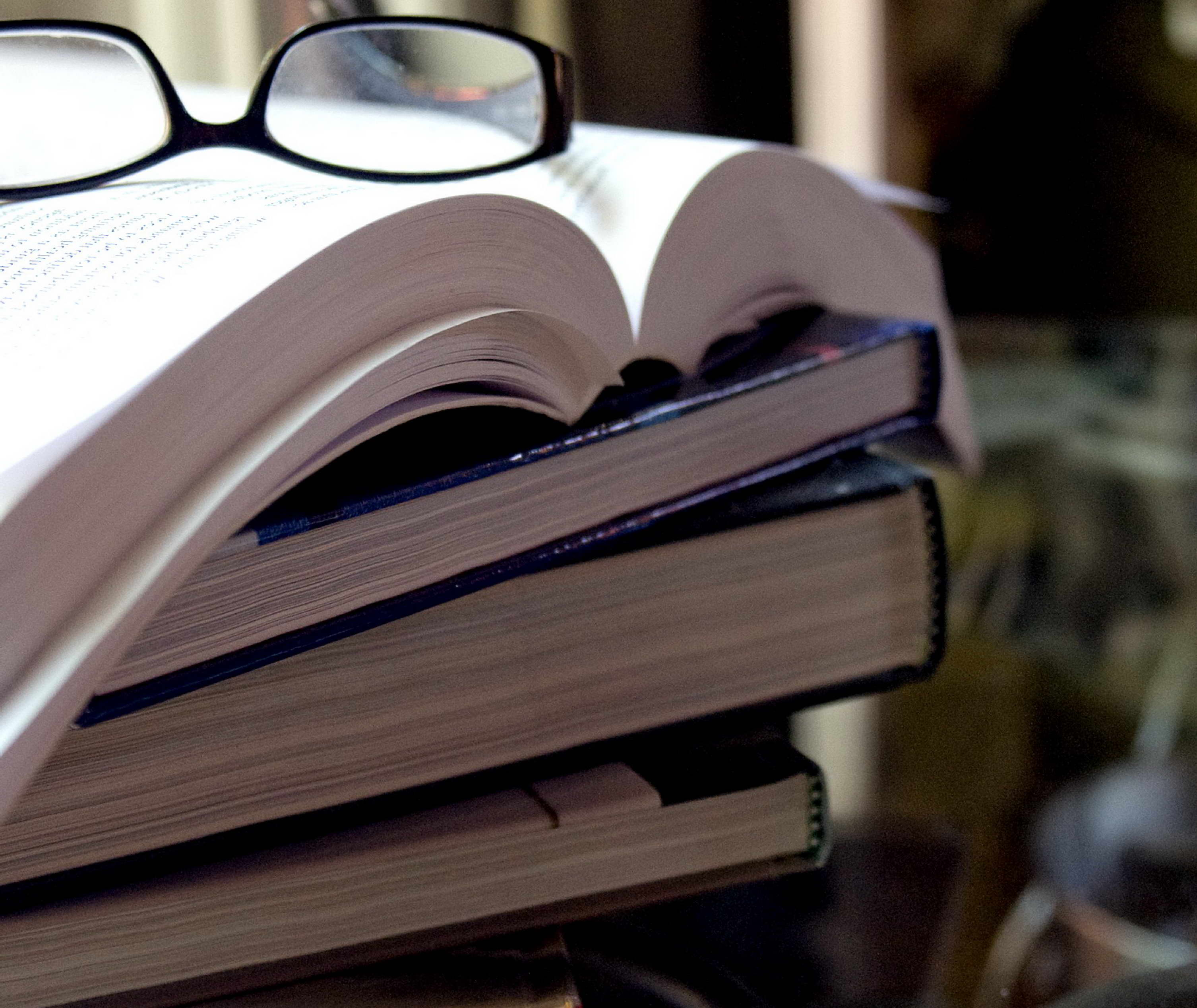 Free picture: stack, books, topped, pair, eyeglasses
