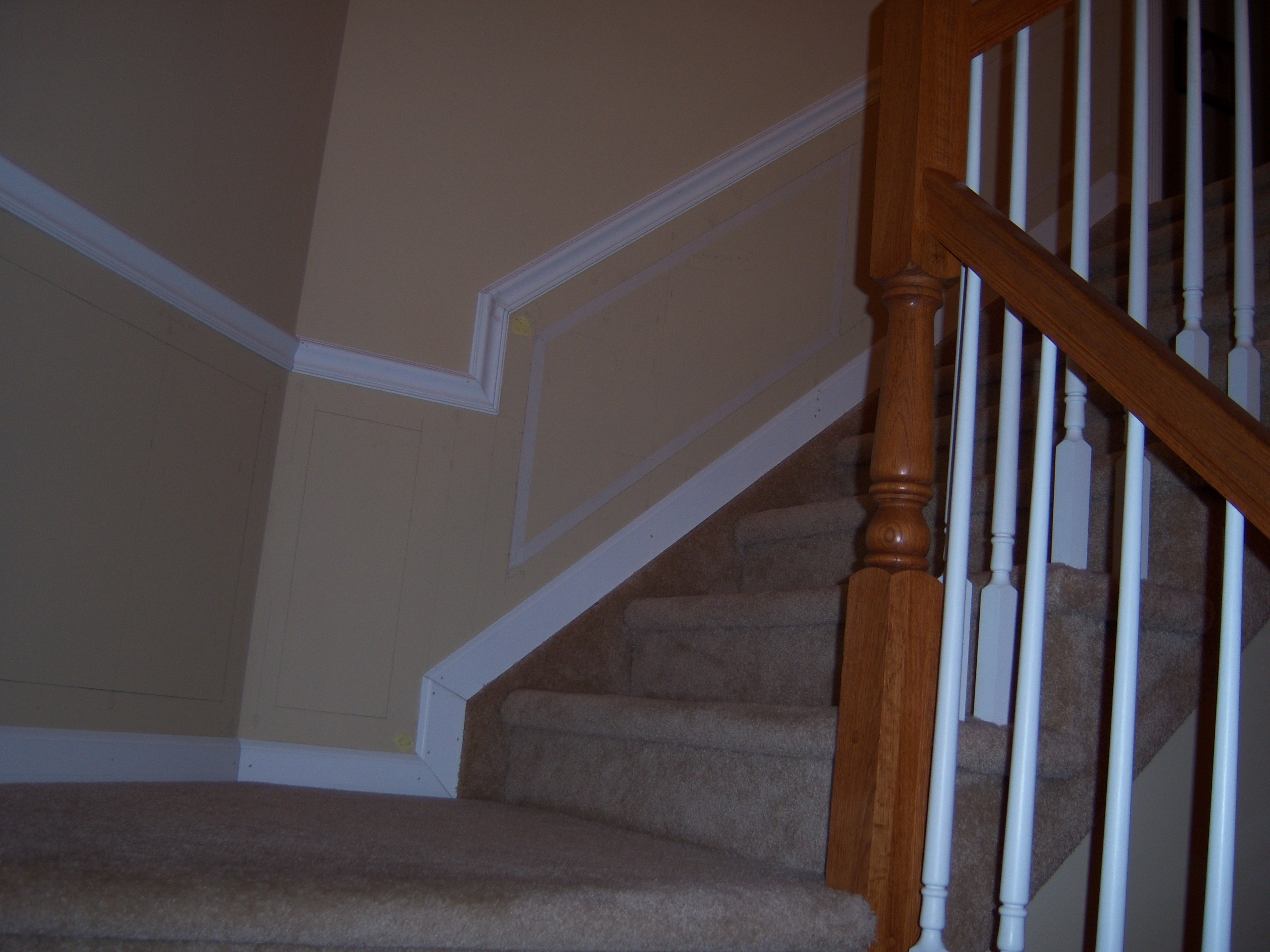 Hall And Stairway Trim Work Low Maintenance Shadow Boxes All ...