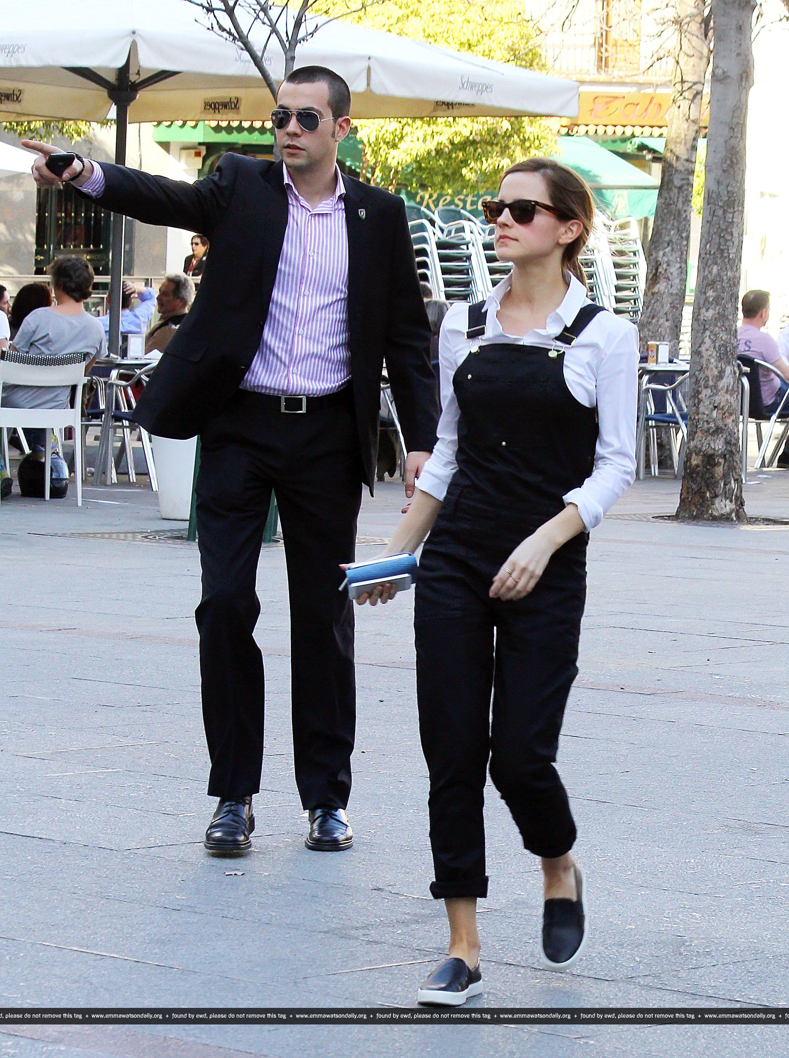 Emma Watson and boyfriend Matthew Janney, seen at terrace in Madrid ...