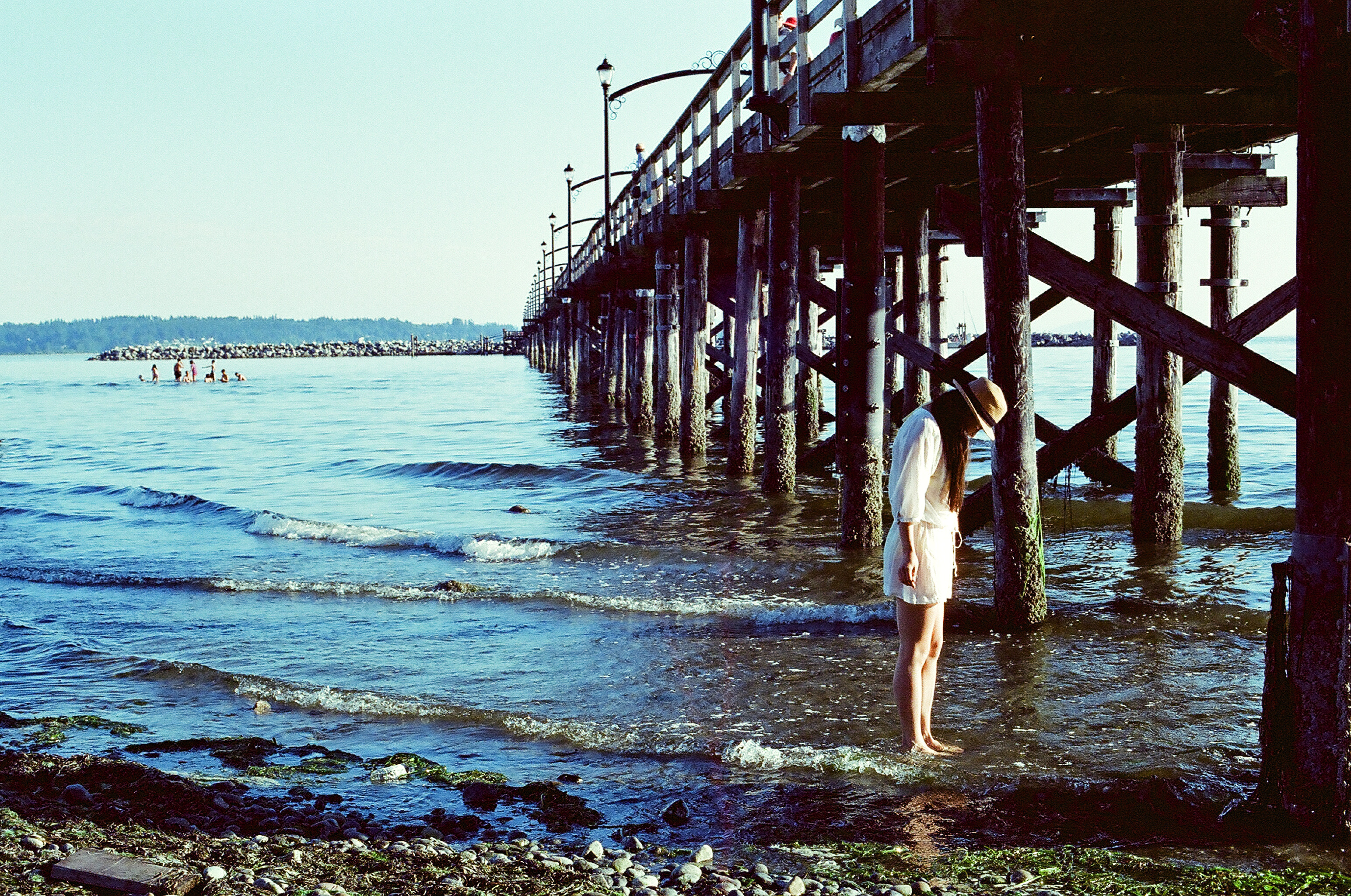 Standing in the Water under the Pier, water, sea, pier, outdoor, HQ Photo