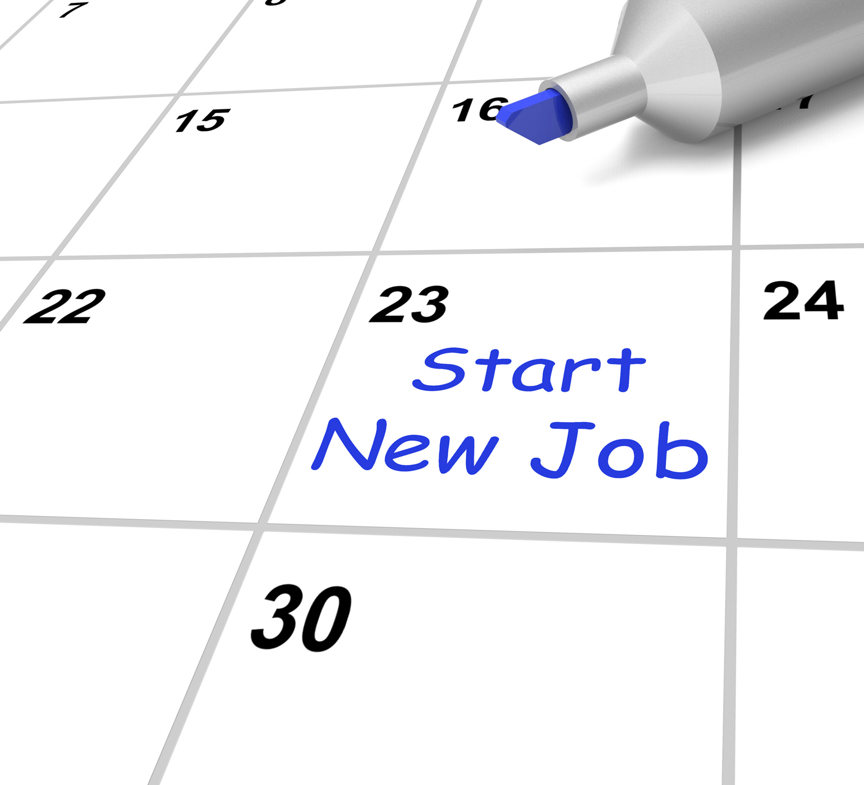 Start New Job Calendar Means Beginning Employment Contract, Begin, Job, Start, Profession, HQ Photo
