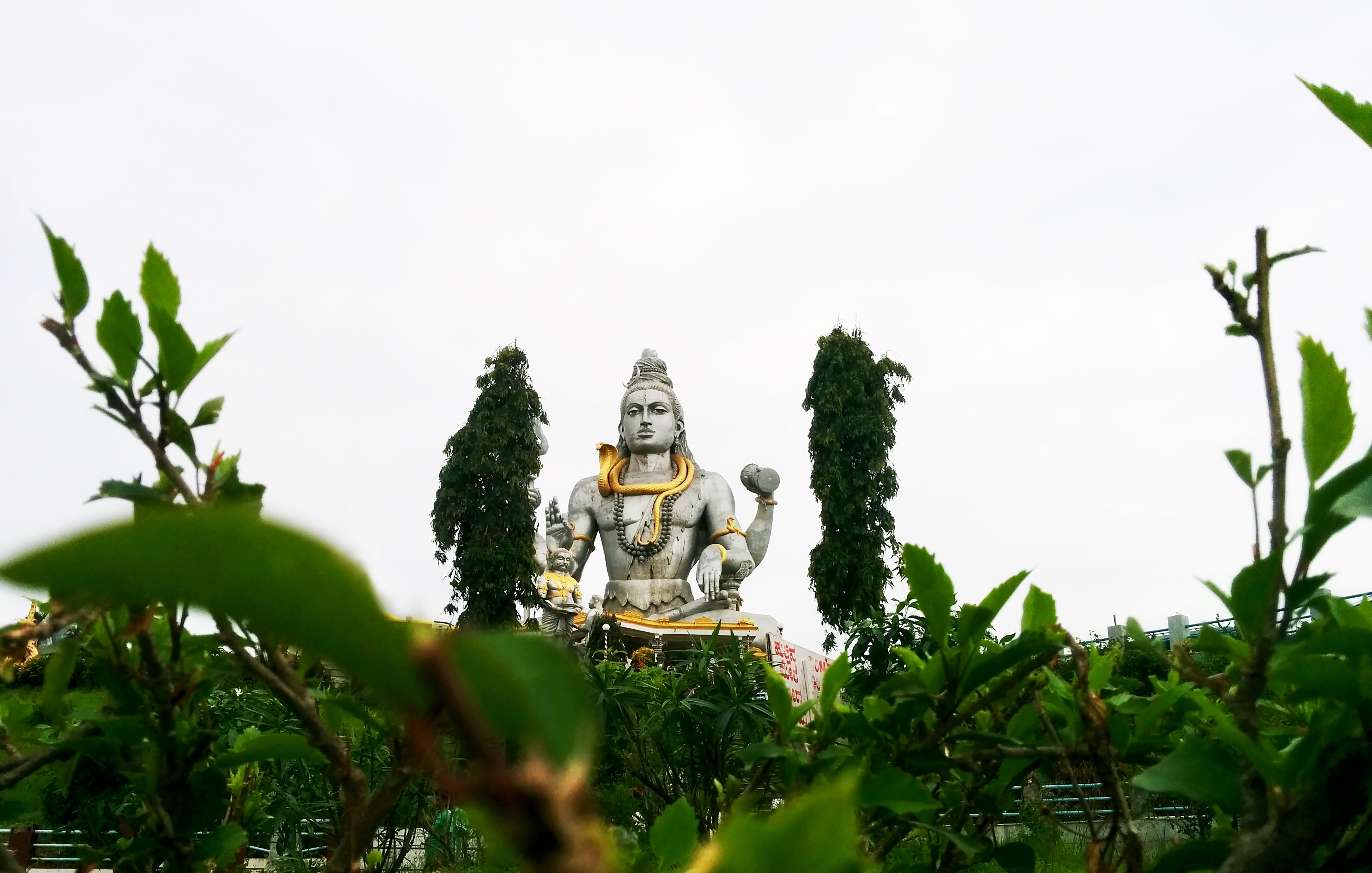 Statue on other side of green trees photo