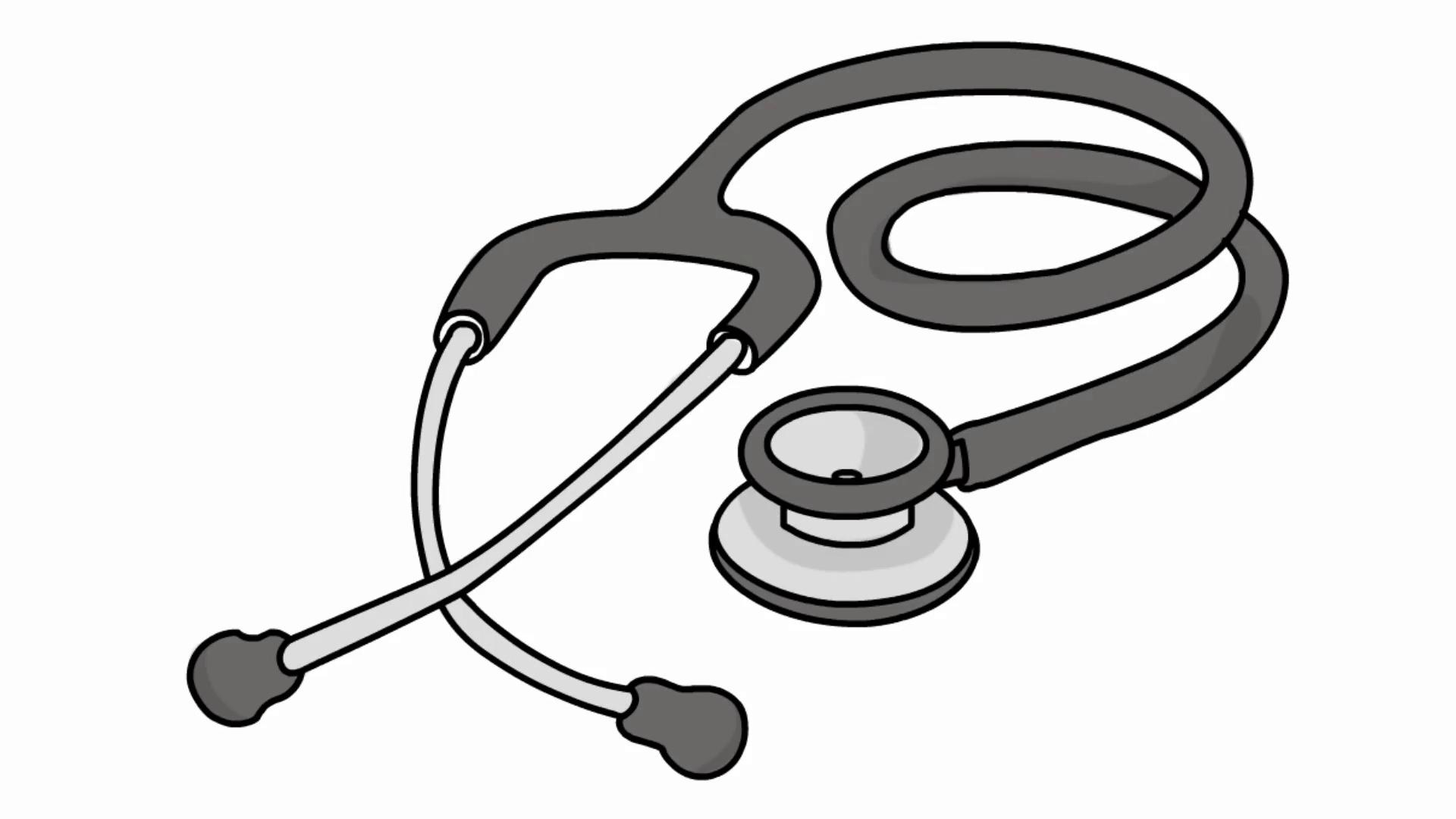 cardiology stethoscope medical sketch illustration hand drawn ...