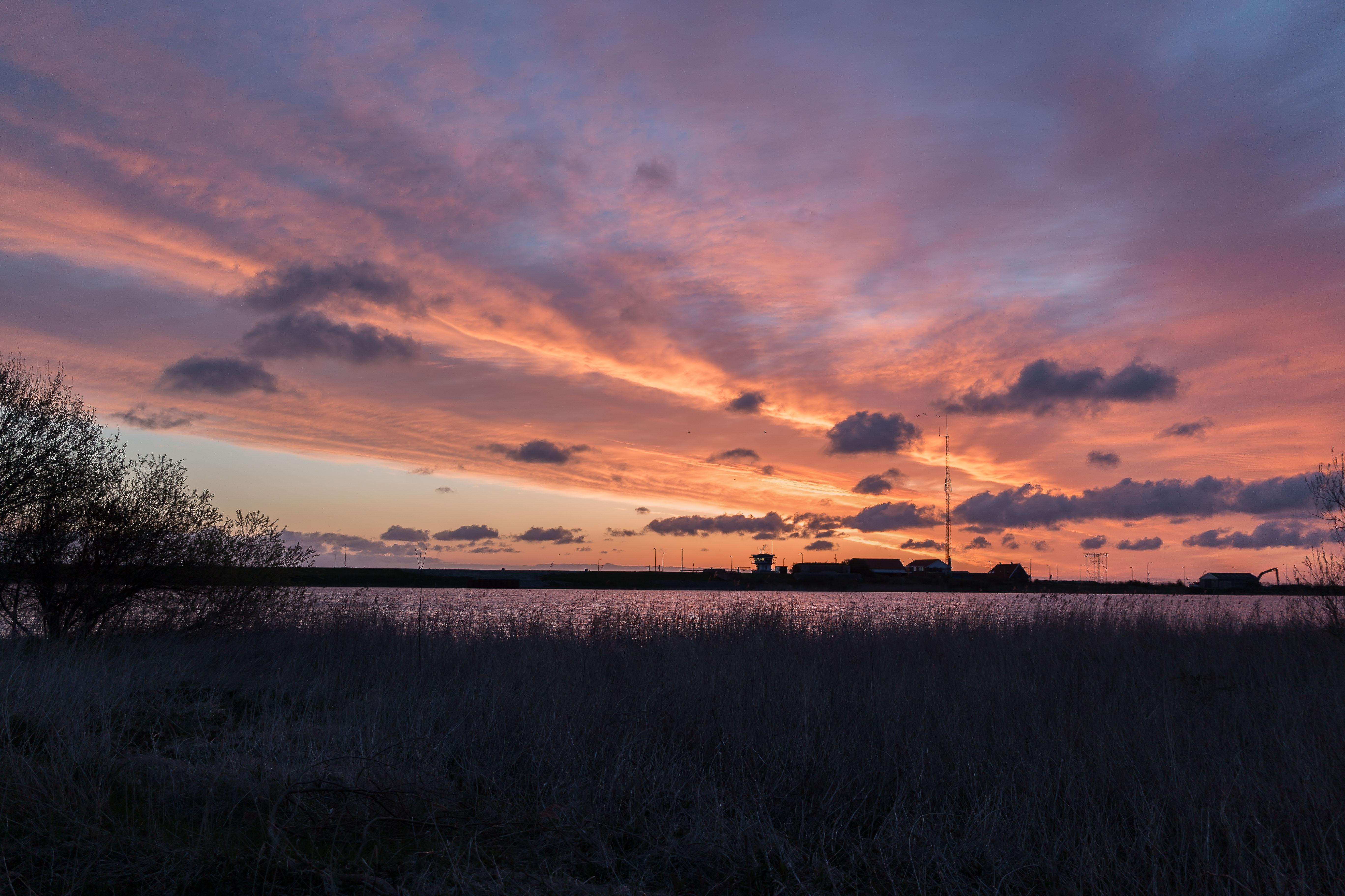 Stevinsluizen at Sunrise, Afsluitdijk, Clouds, Colors, Golden, HQ Photo