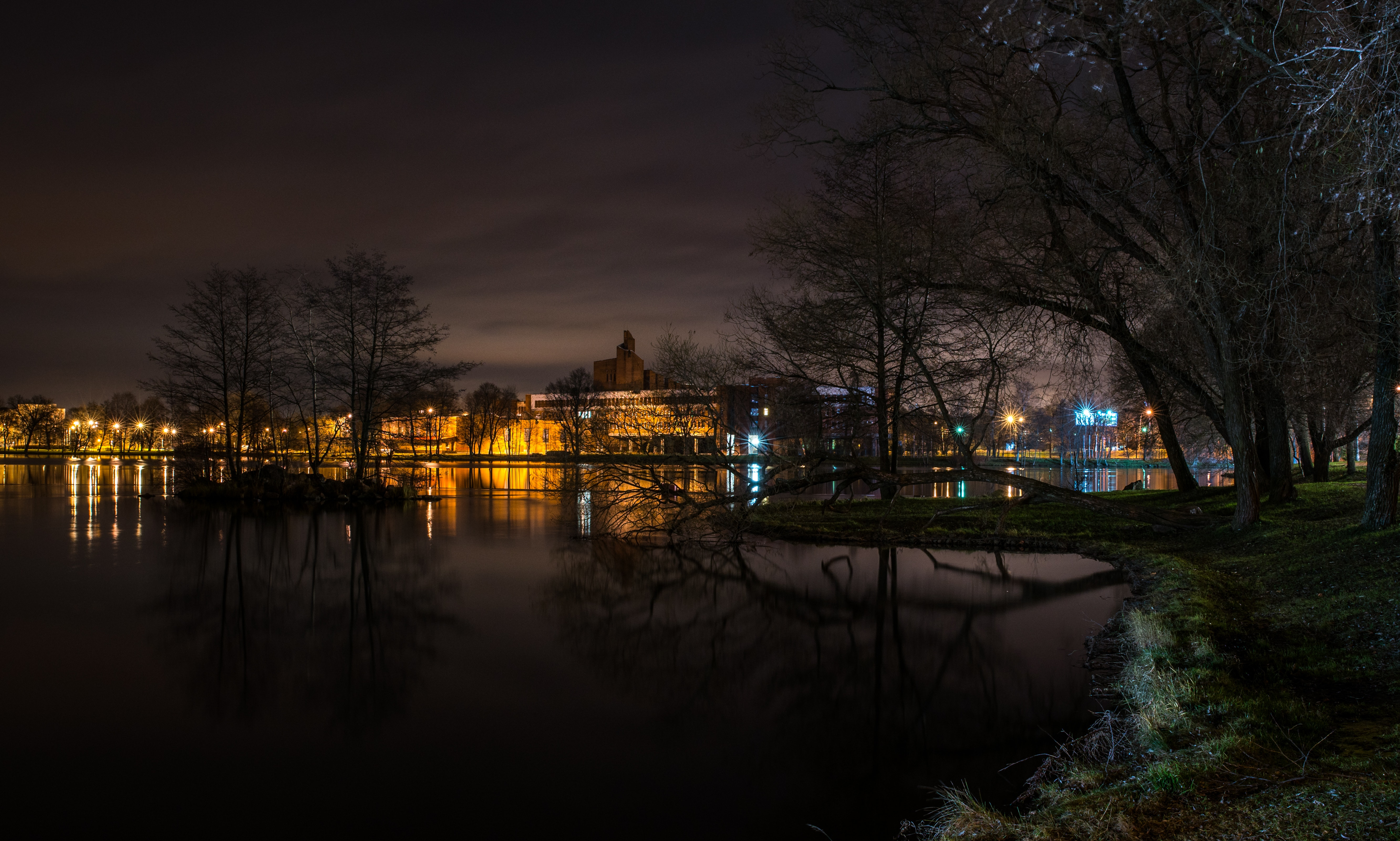 Still Body of Water Next to Lighted Beige Buildings during Nighttime, Architecture, Lights, Water, Trees, HQ Photo