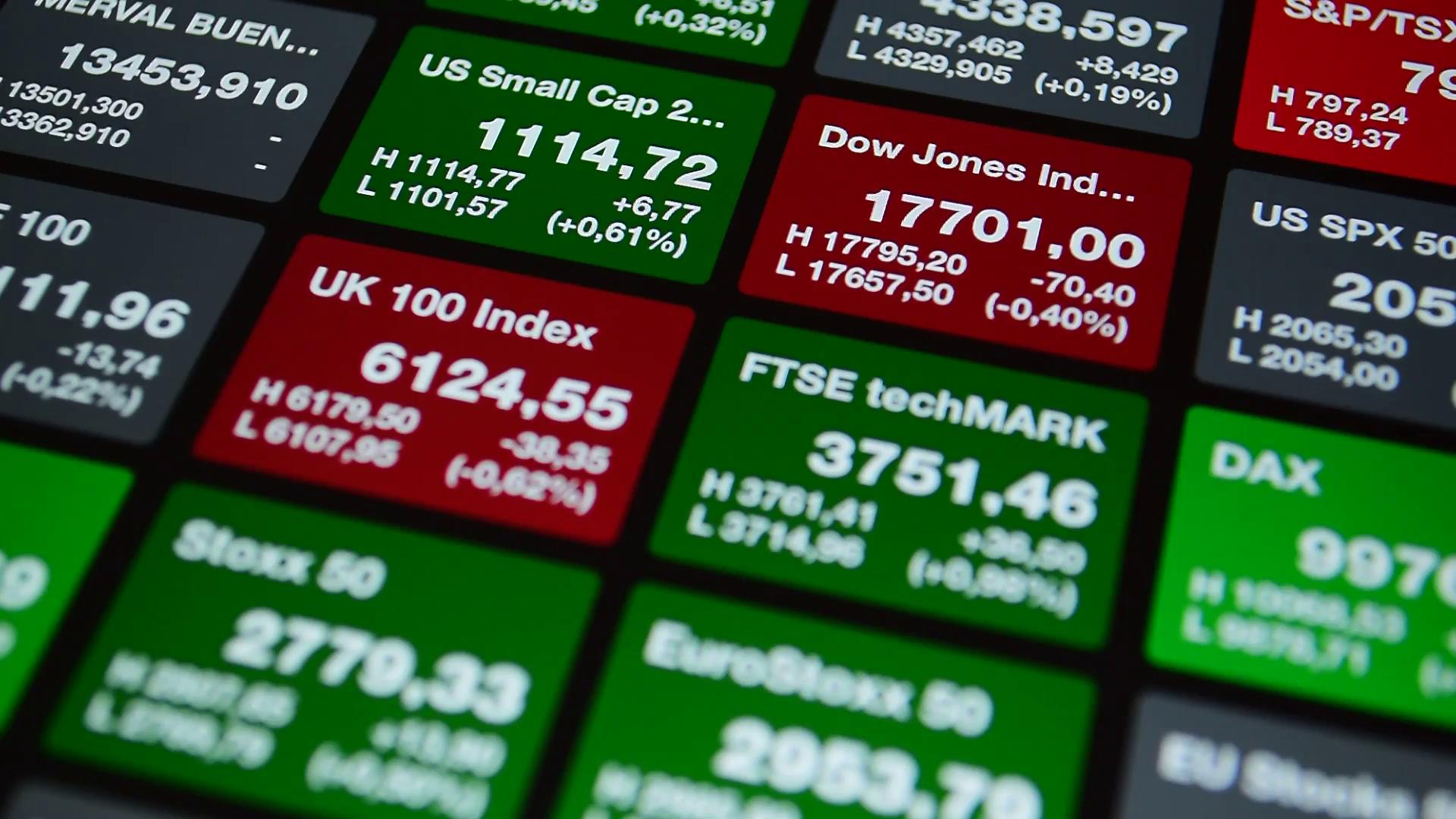 Stock exchange board data, index Dow Jones, DAX, FTSE, UK. Stock ...