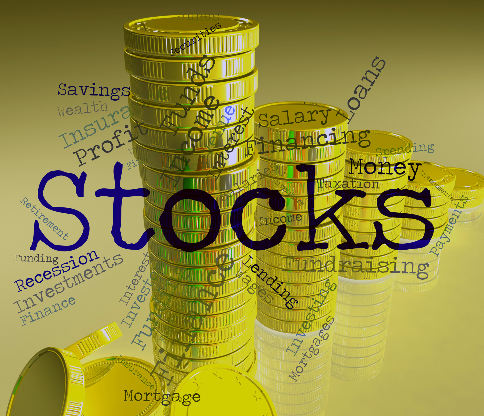 Stocks word indicates return on investment and financial photo
