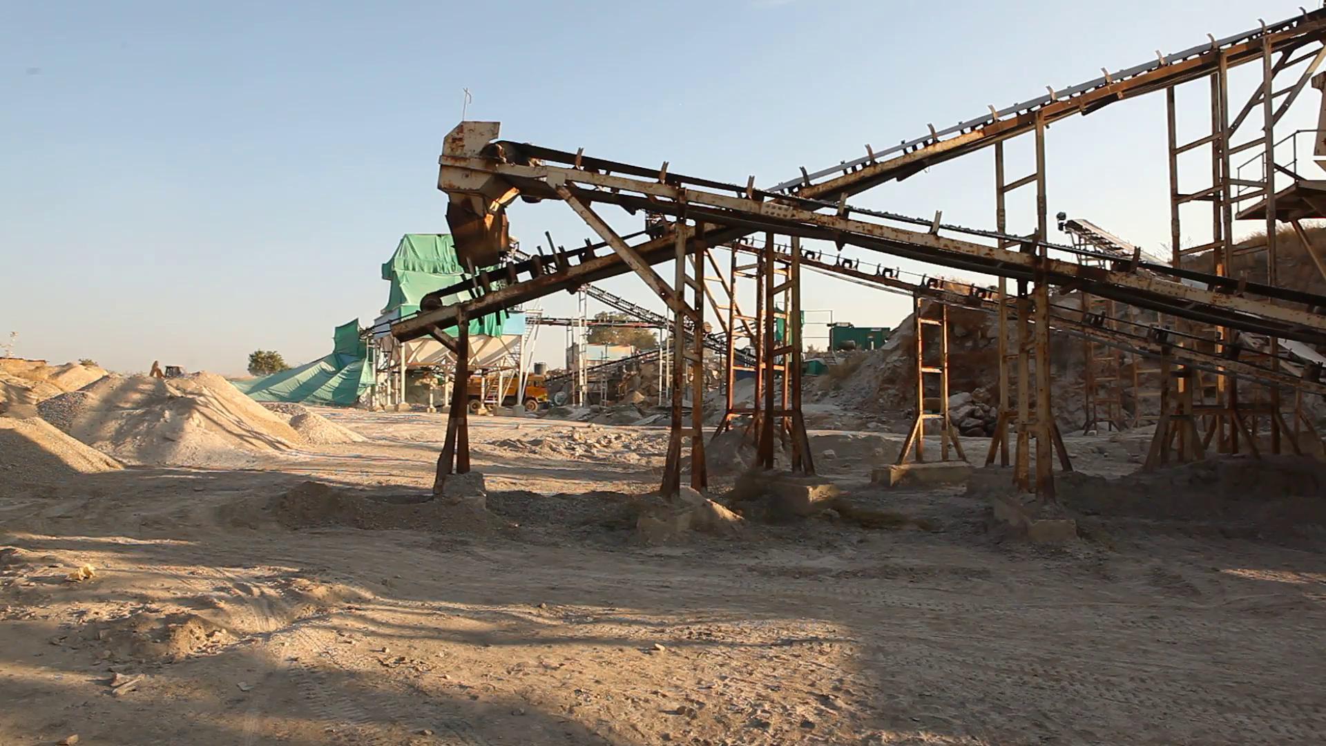 Stone crusher in mine quarry Stock Video Footage - Videoblocks