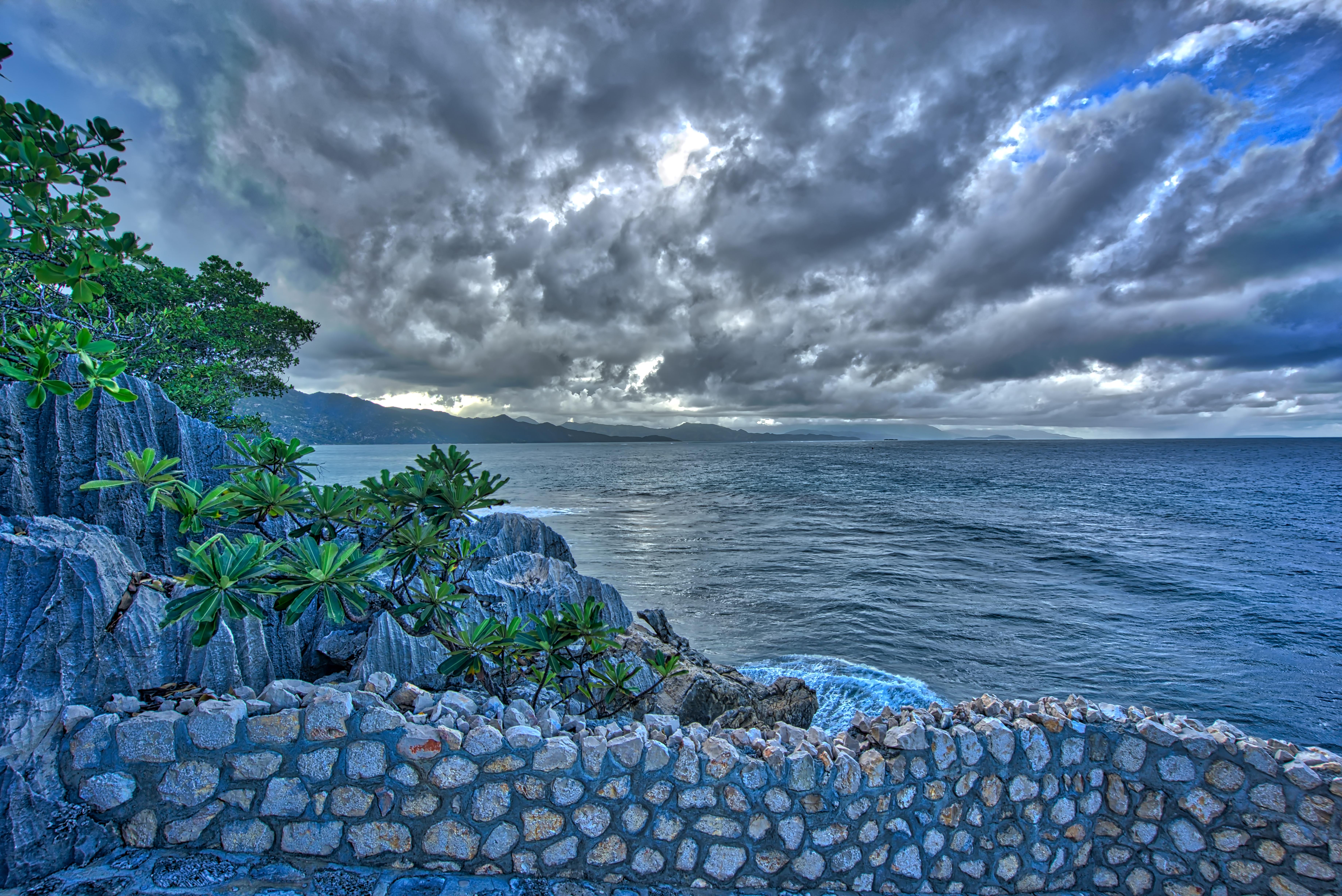 Stone Path Along Sea, Haiti, Clouds, Haiti, HDR, Outdoor, HQ Photo