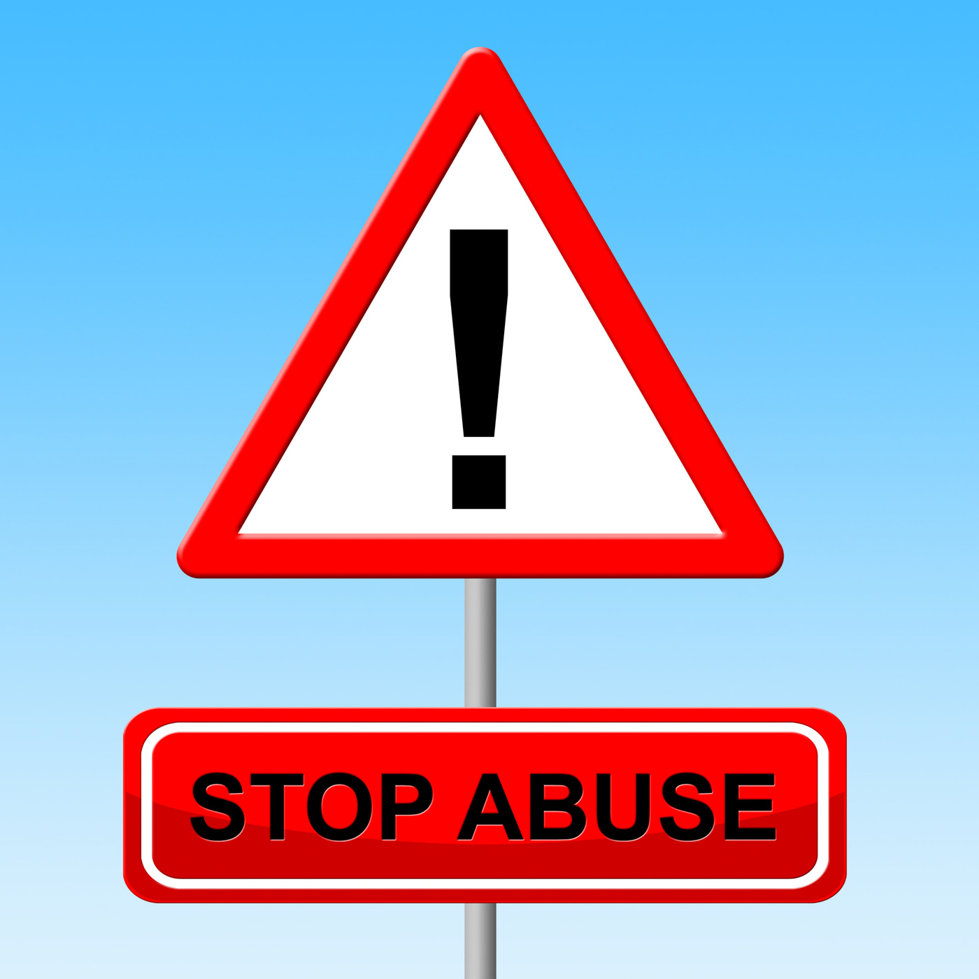 Stop abuse indicates warning sign and danger photo
