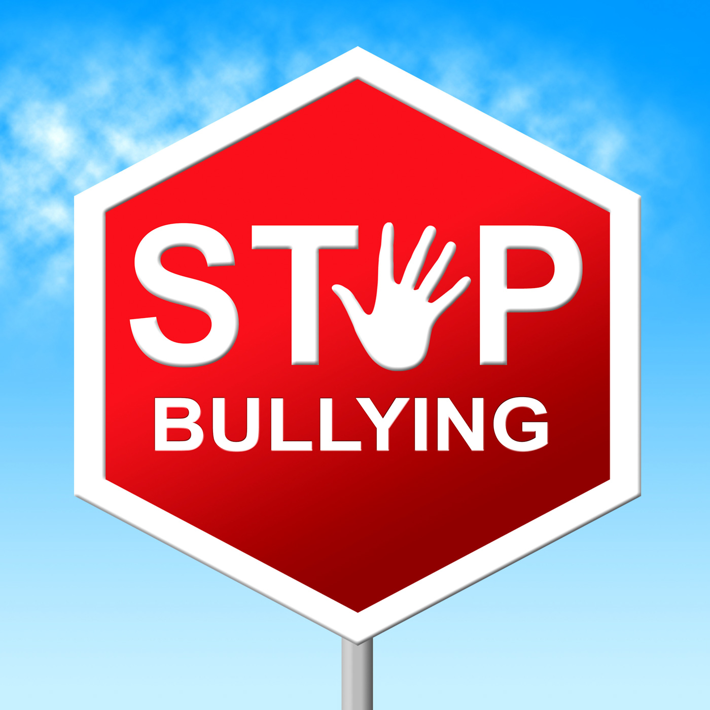 Stop bullying shows push around and caution photo