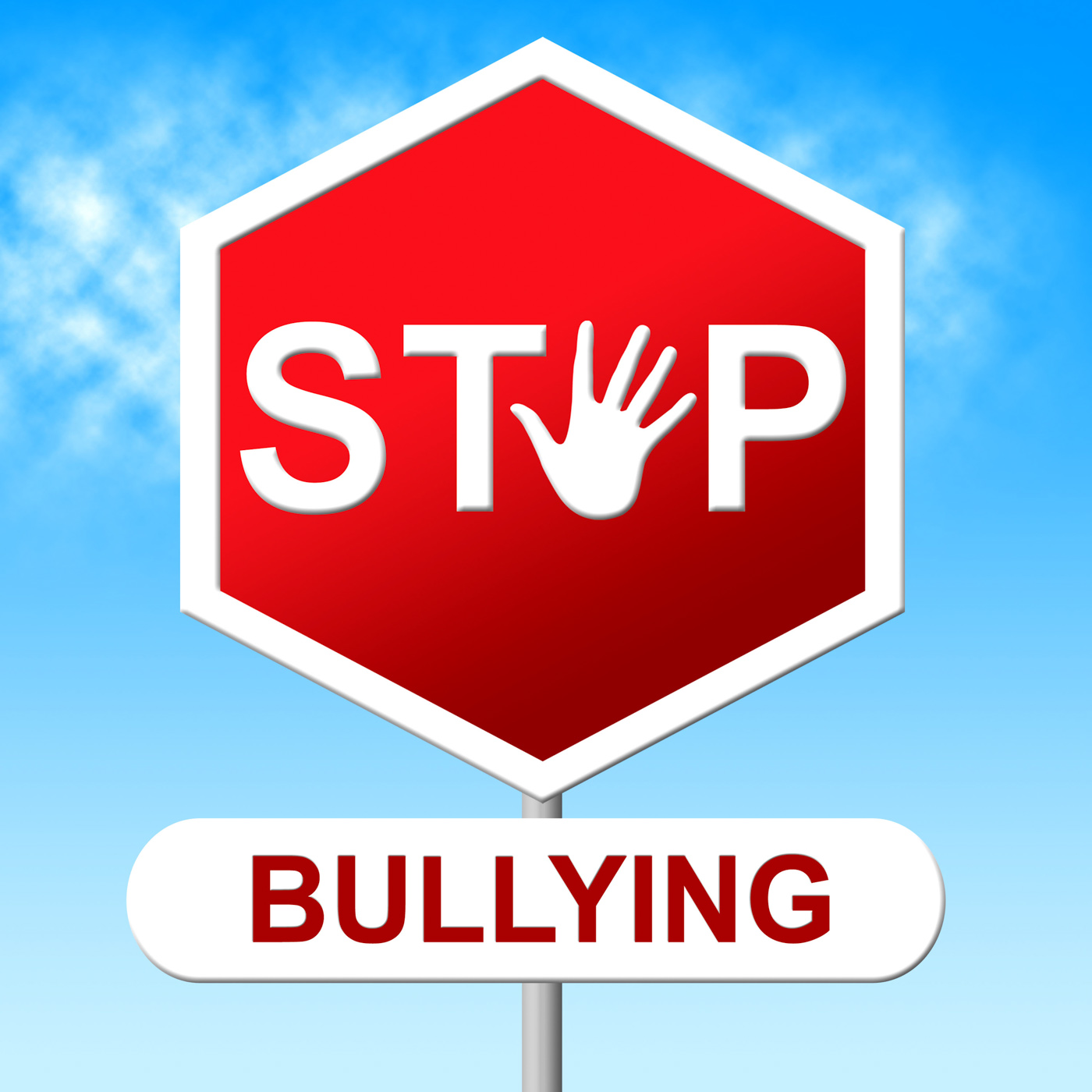 Stop bullying shows warning sign and danger photo