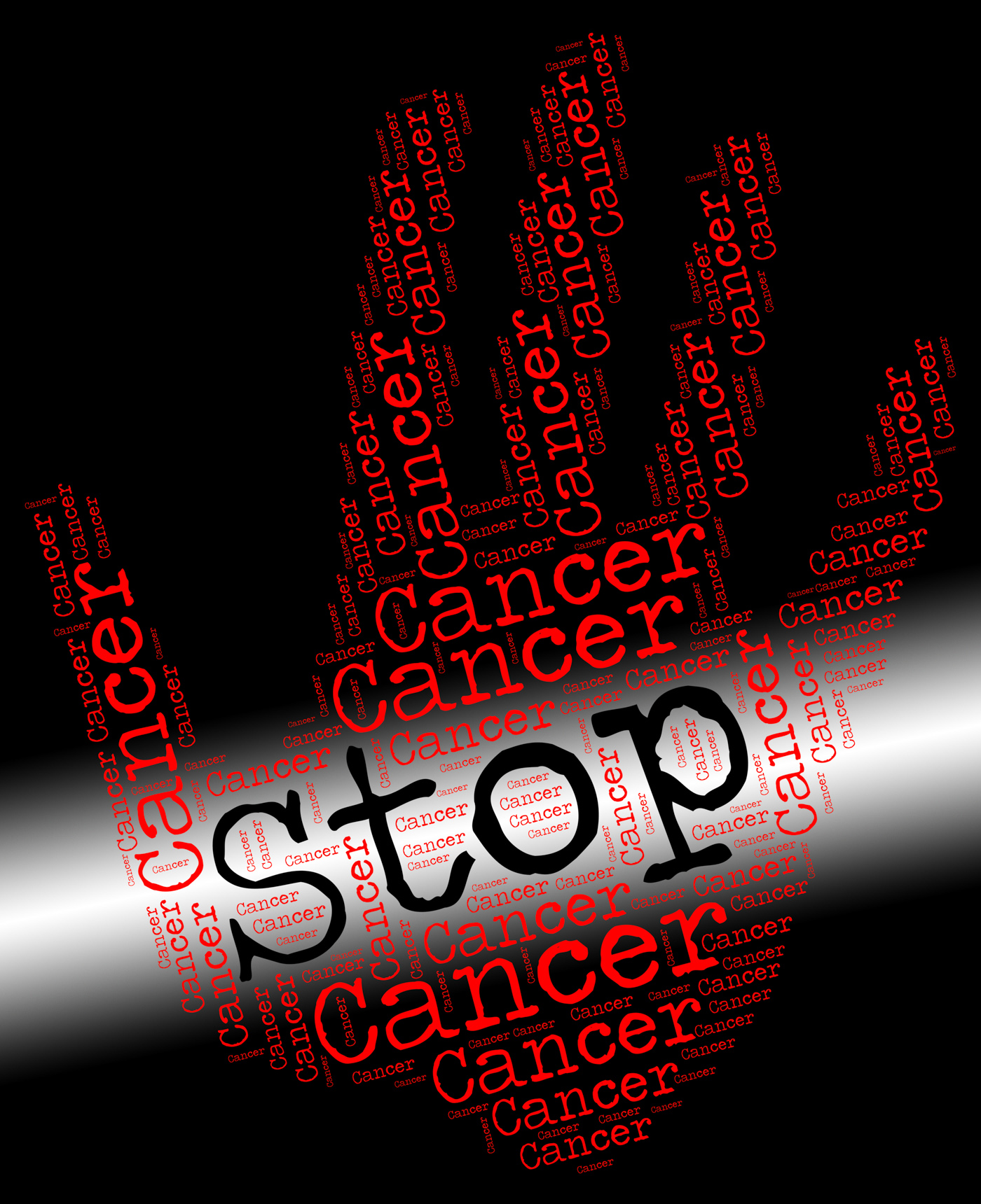 Stop cancer means warning sign and cancerous photo
