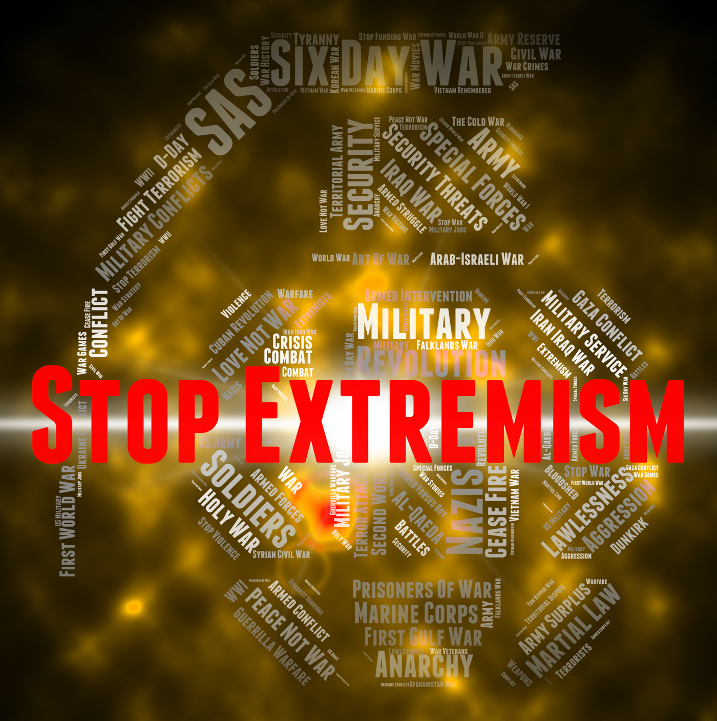 Stop extremism represents control bigotry and warning photo