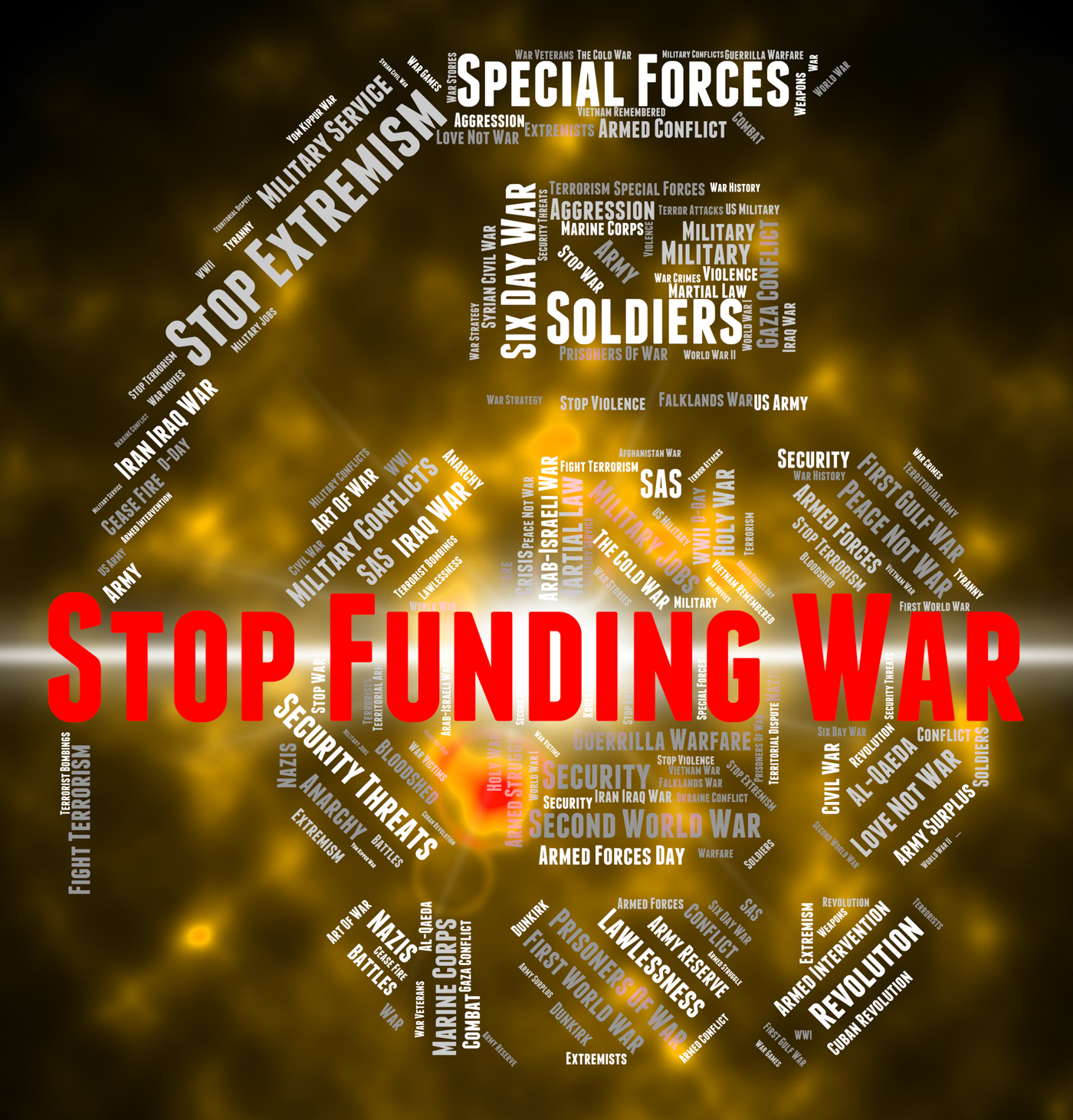 Stop funding war indicates military action and conflict photo