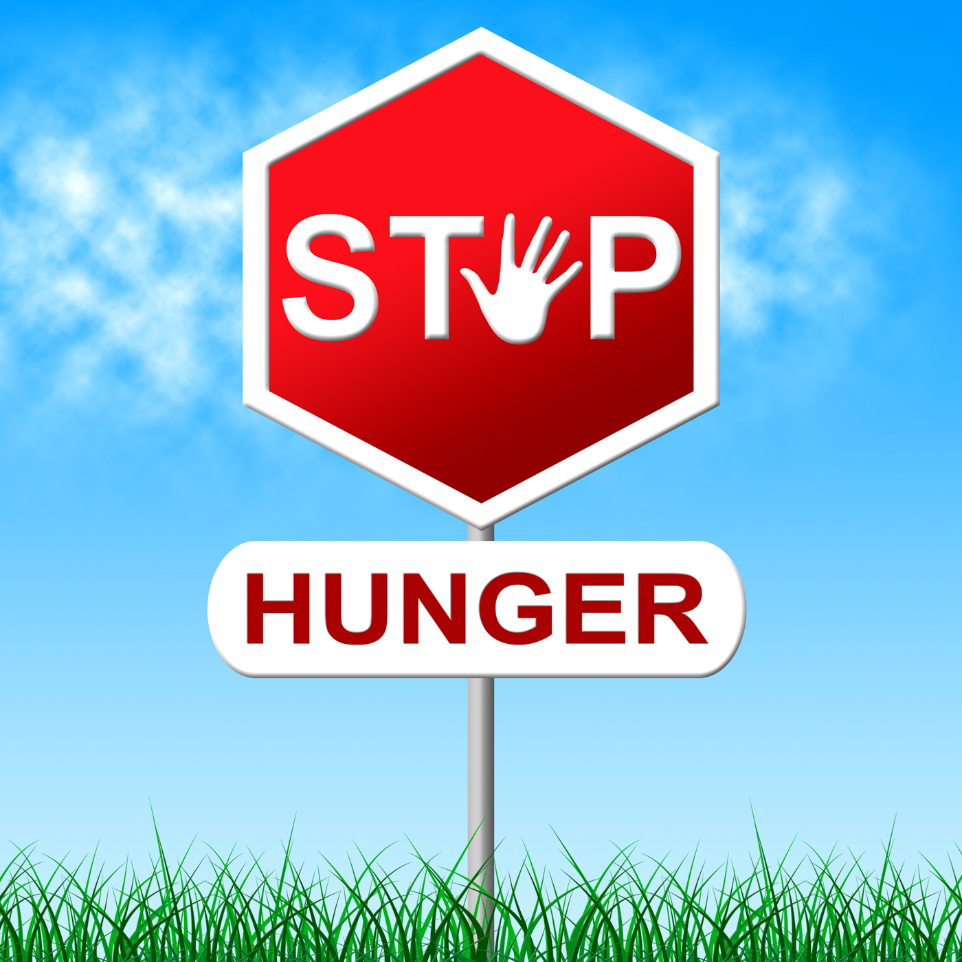 Stop hunger represents lack of food and caution photo