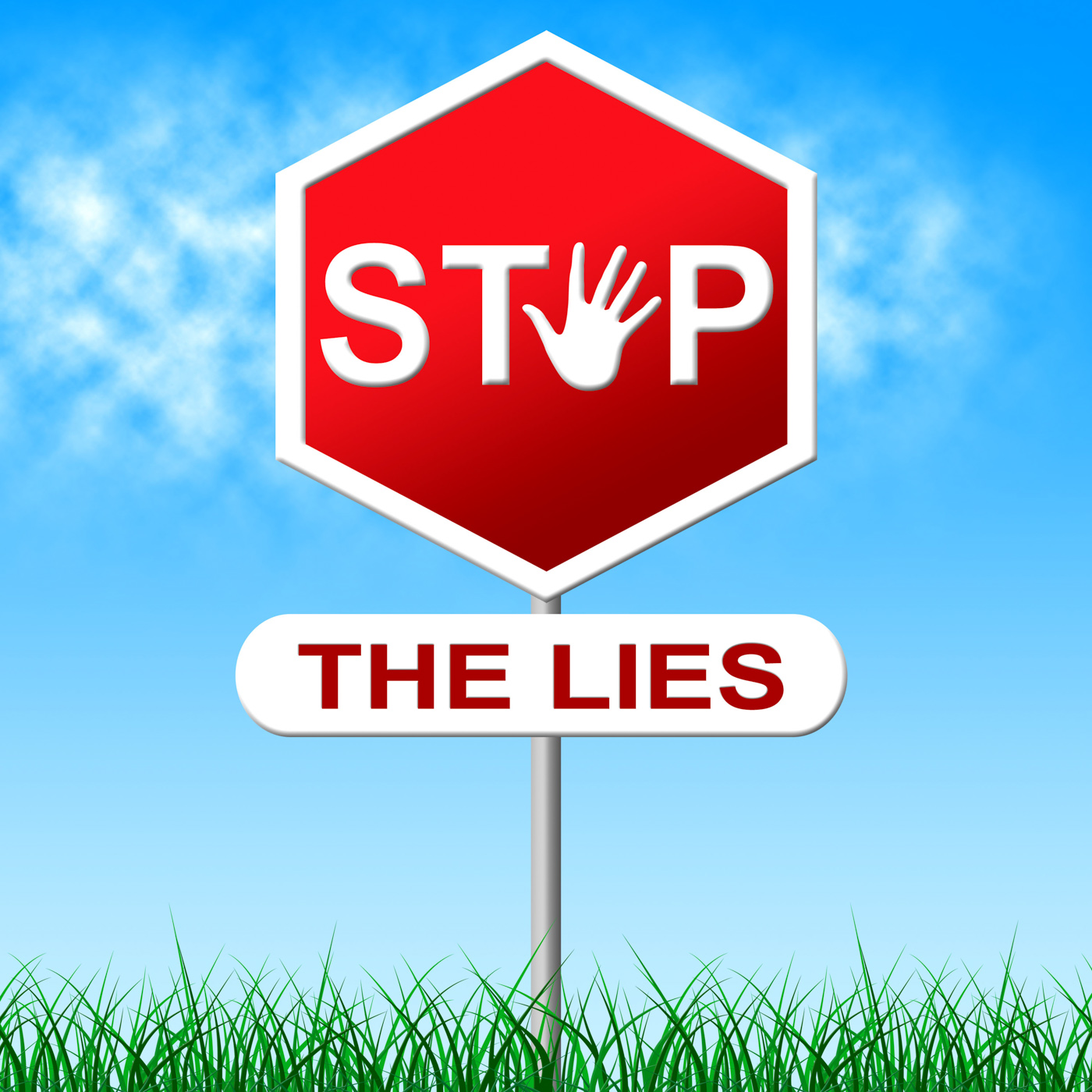 Stop lies shows warning sign and deceit photo
