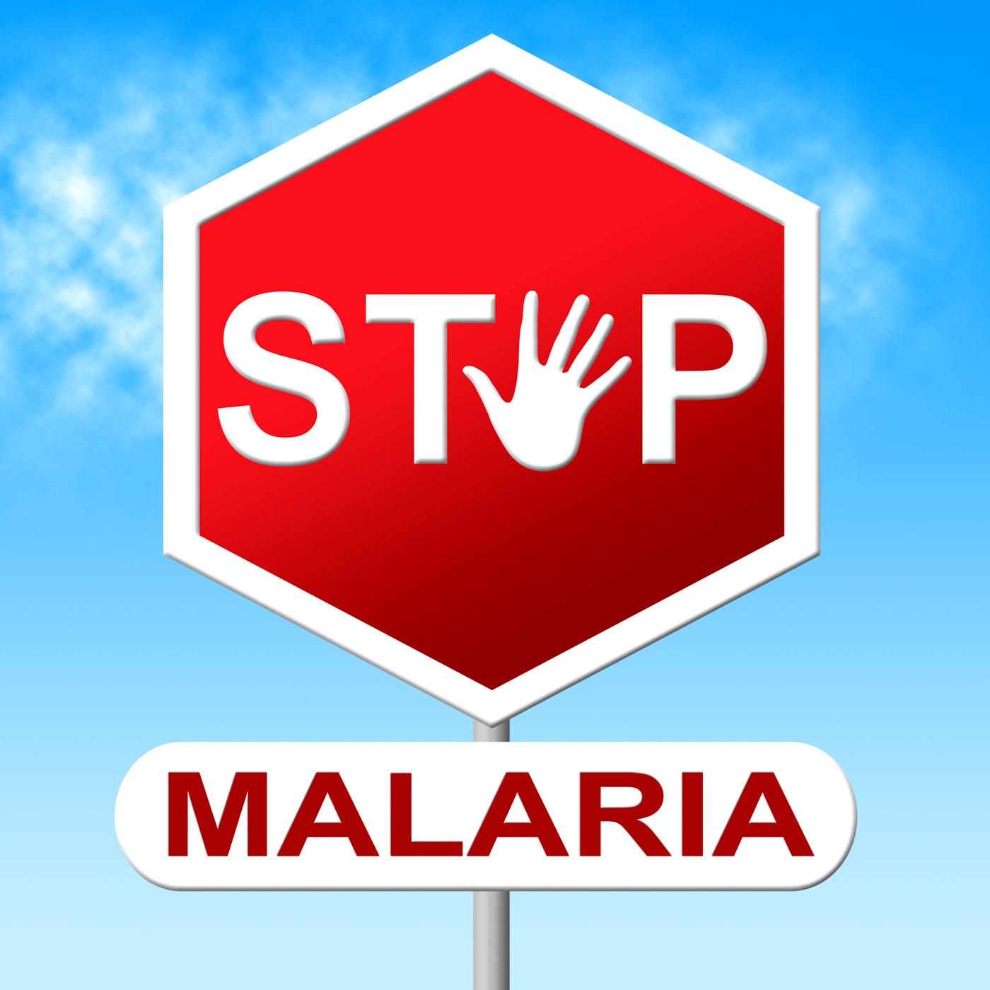Stop malaria indicates warning sign and caution photo