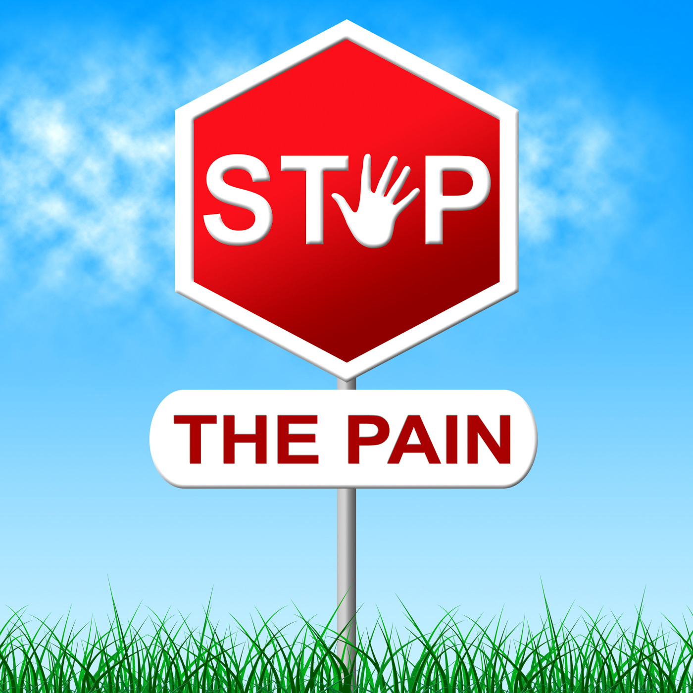 Stop pain means torture danger and caution photo